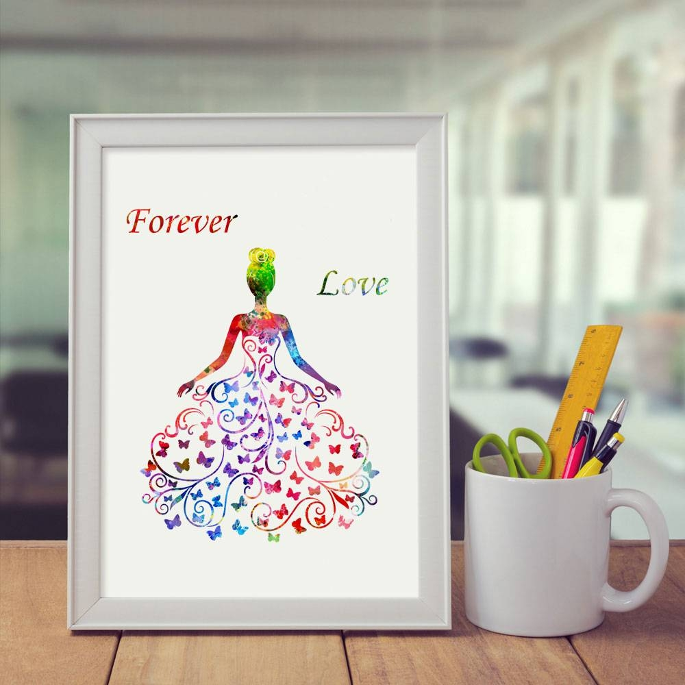 Wedding Room Decor Forever Love Art Print Butterfly Wedding Dress Intended For Most Recent Butterfly Map Wall Art (View 19 of 20)