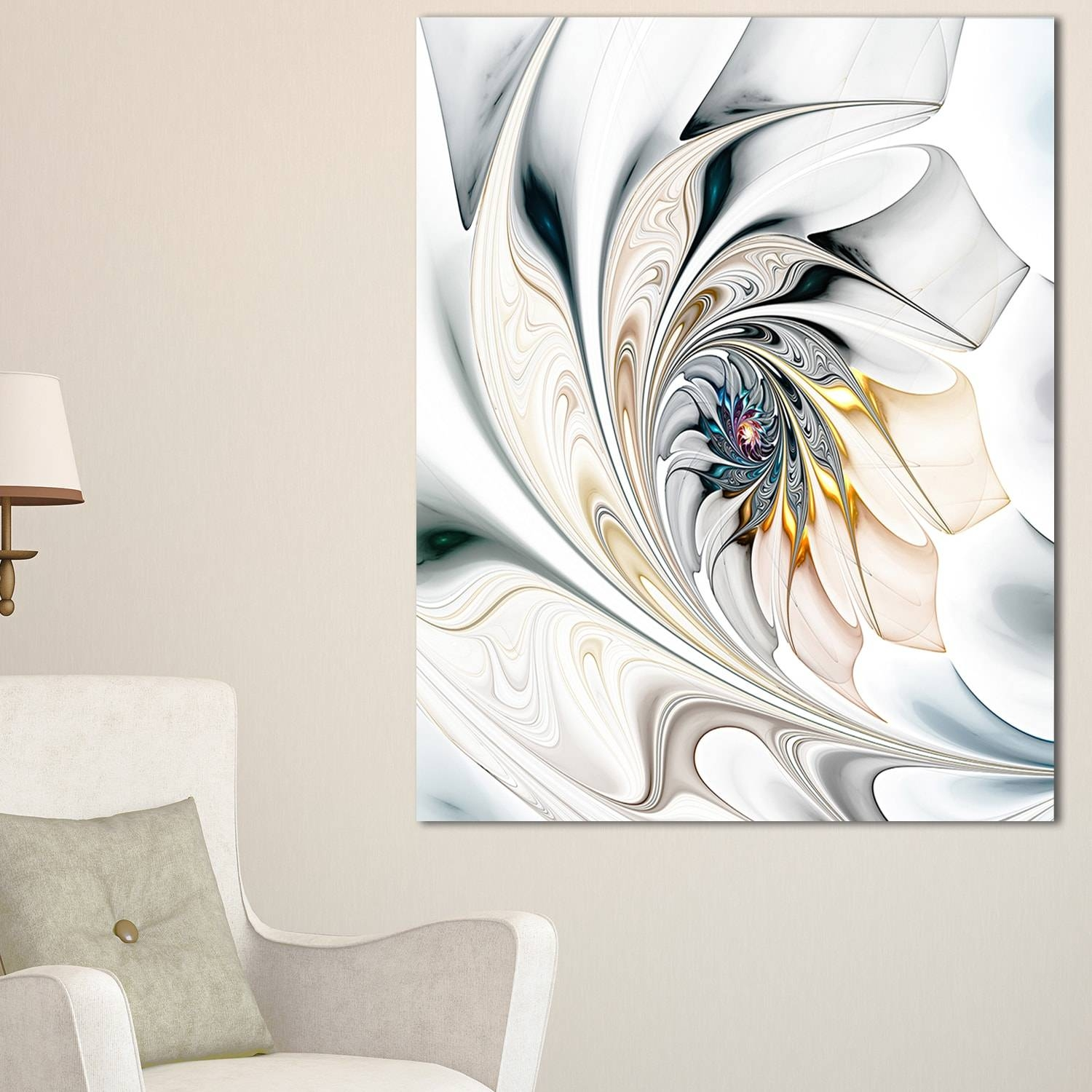 White Stained Glass Floral Art – Large Floral Glossy Metal Wall For Most Up To Date White Metal Wall Art (Gallery 6 of 20)
