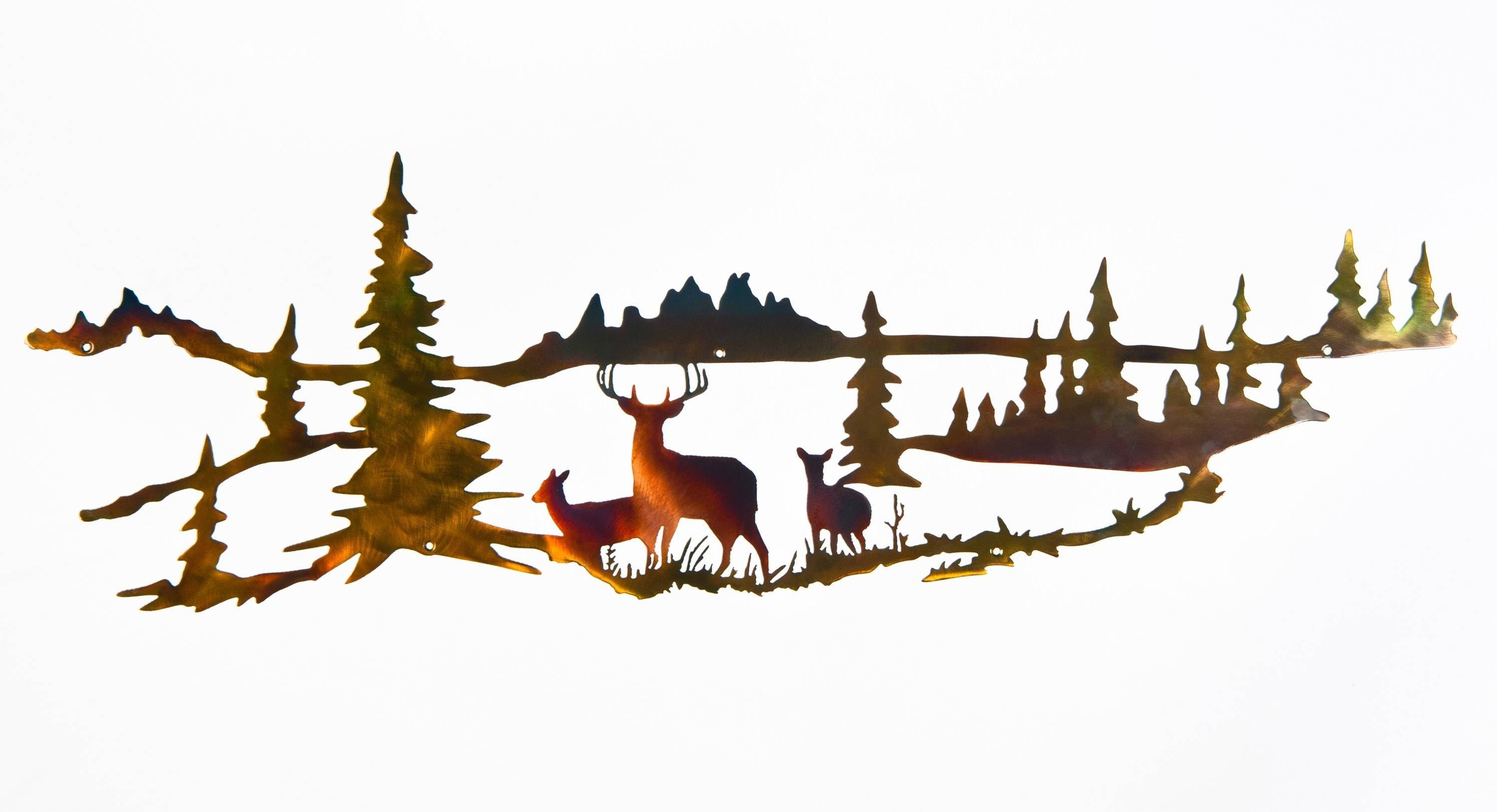 Whitetail Buck And Doe Wildlife Indoor & Outdoor Metal Wall Art Within Current Wildlife Metal Wall Art (View 11 of 20)