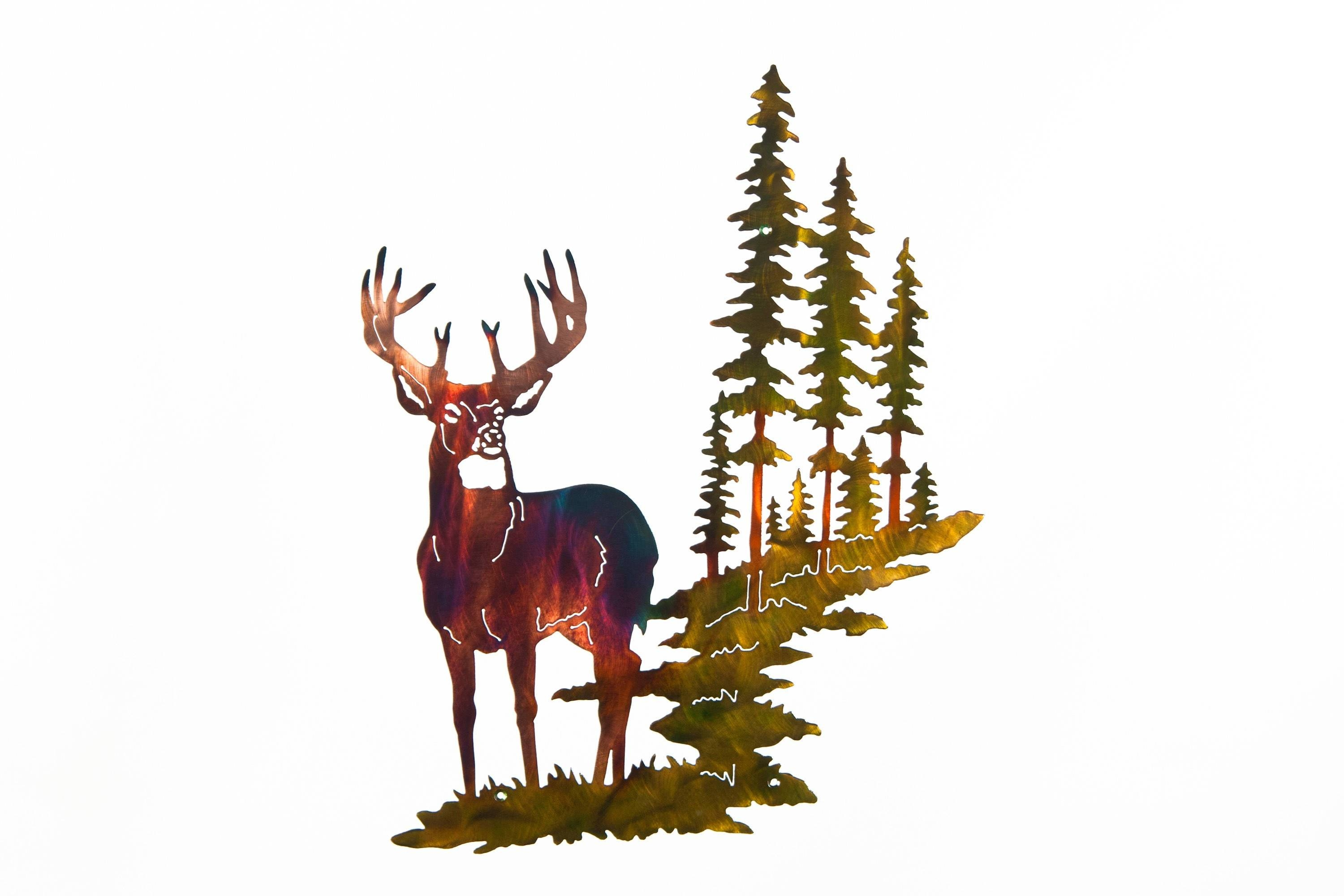 Whitetail Buck Deer W/ Mountain & Trees Metal Wall Art In Current Deer Metal Wall Art (View 18 of 20)