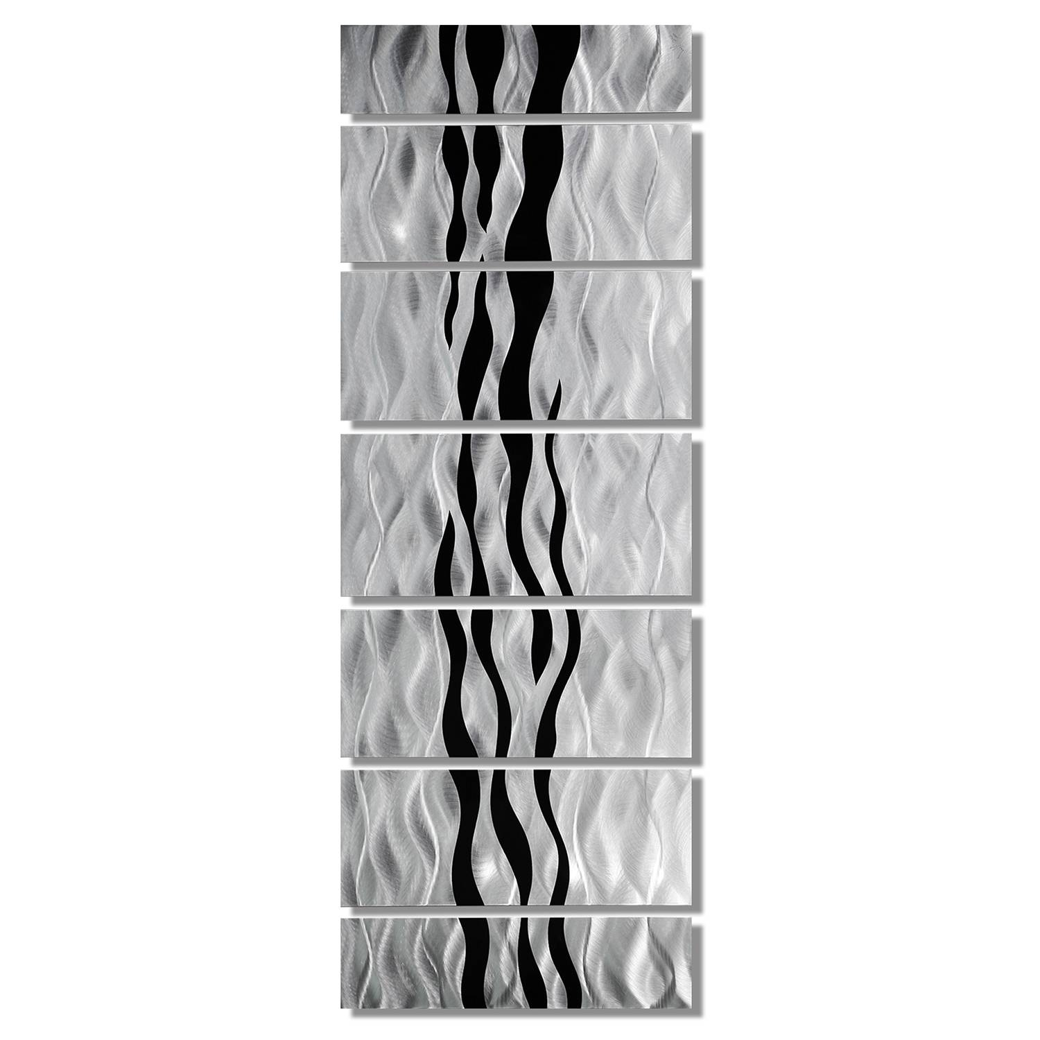 Wild Ways – Silver And Black Modern Metallic Wall Hanging Intended For Most Popular Black And White Metal Wall Art (View 8 of 20)