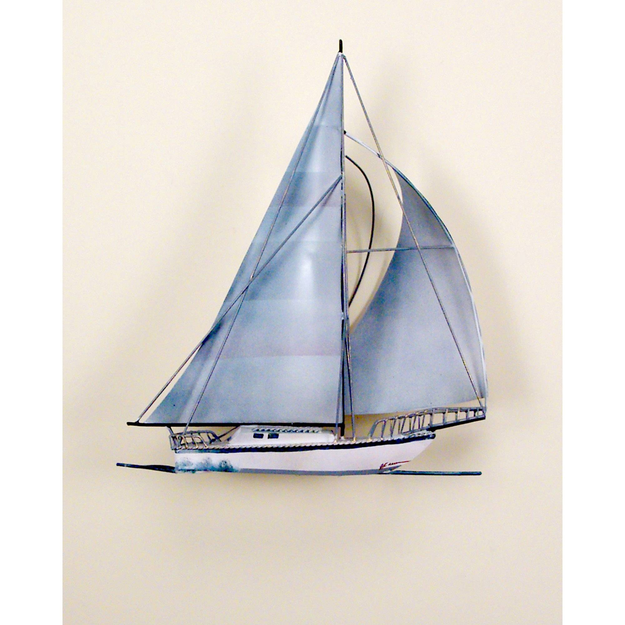 Windjamer Sailboat, Single, Ocean, Boat, Nautical, Sailing In Newest Lighthouse Metal Wall Art (View 20 of 20)
