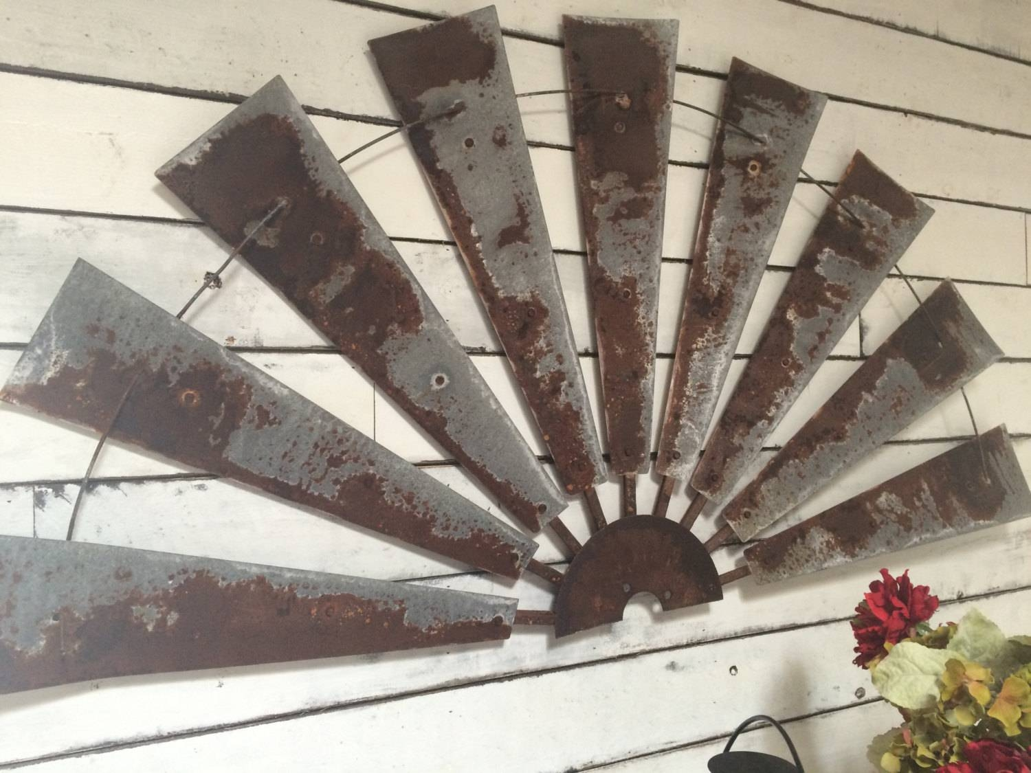 Windmill Half Metal Farmhouse Wall Art 60 Inch Gift Intended For Most Recently Released Rusted Metal Wall Art (View 12 of 20)