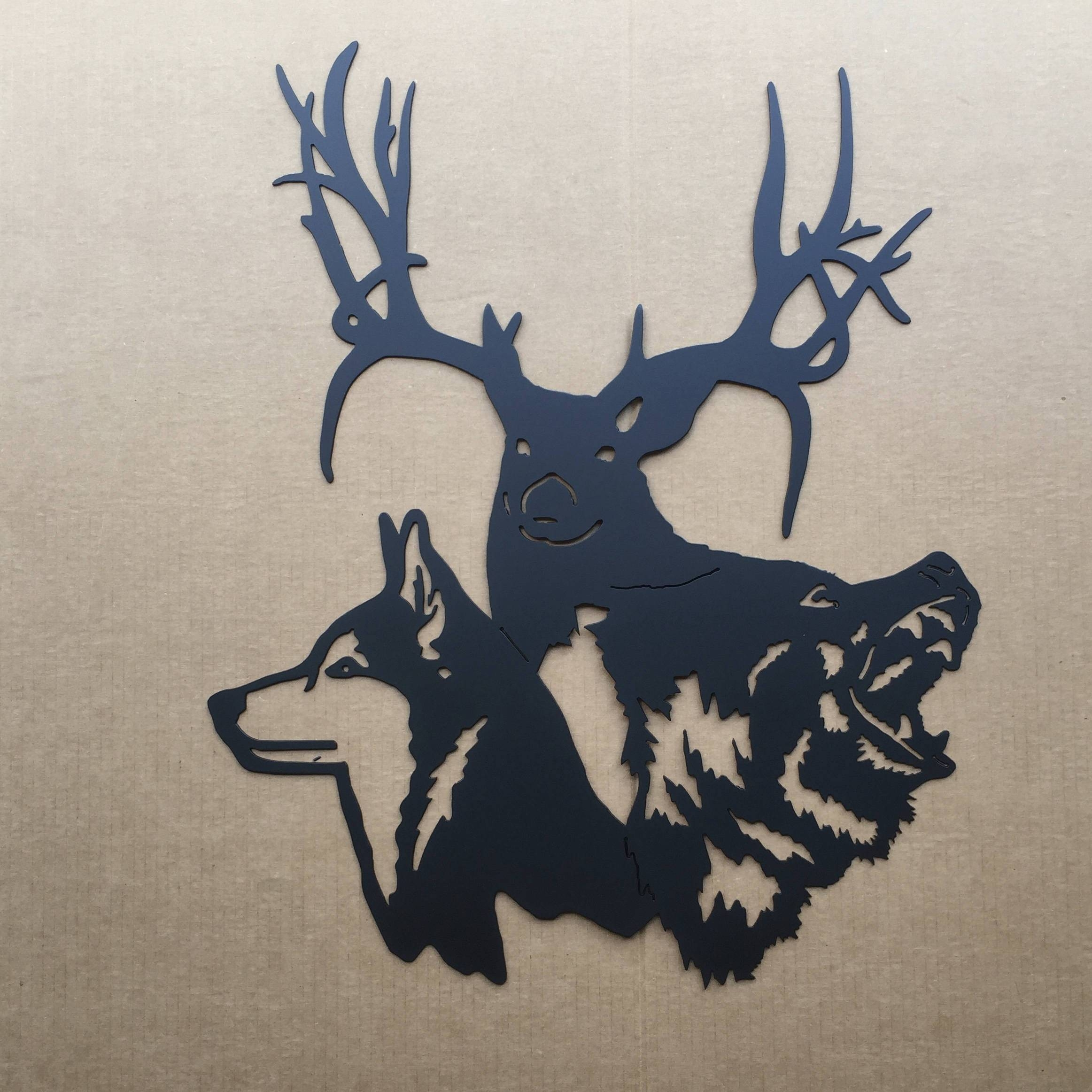 Wolf Deer Bear Metal Wall Art R4 Intended For Most Recently Released Deer Metal Wall Art (View 20 of 20)