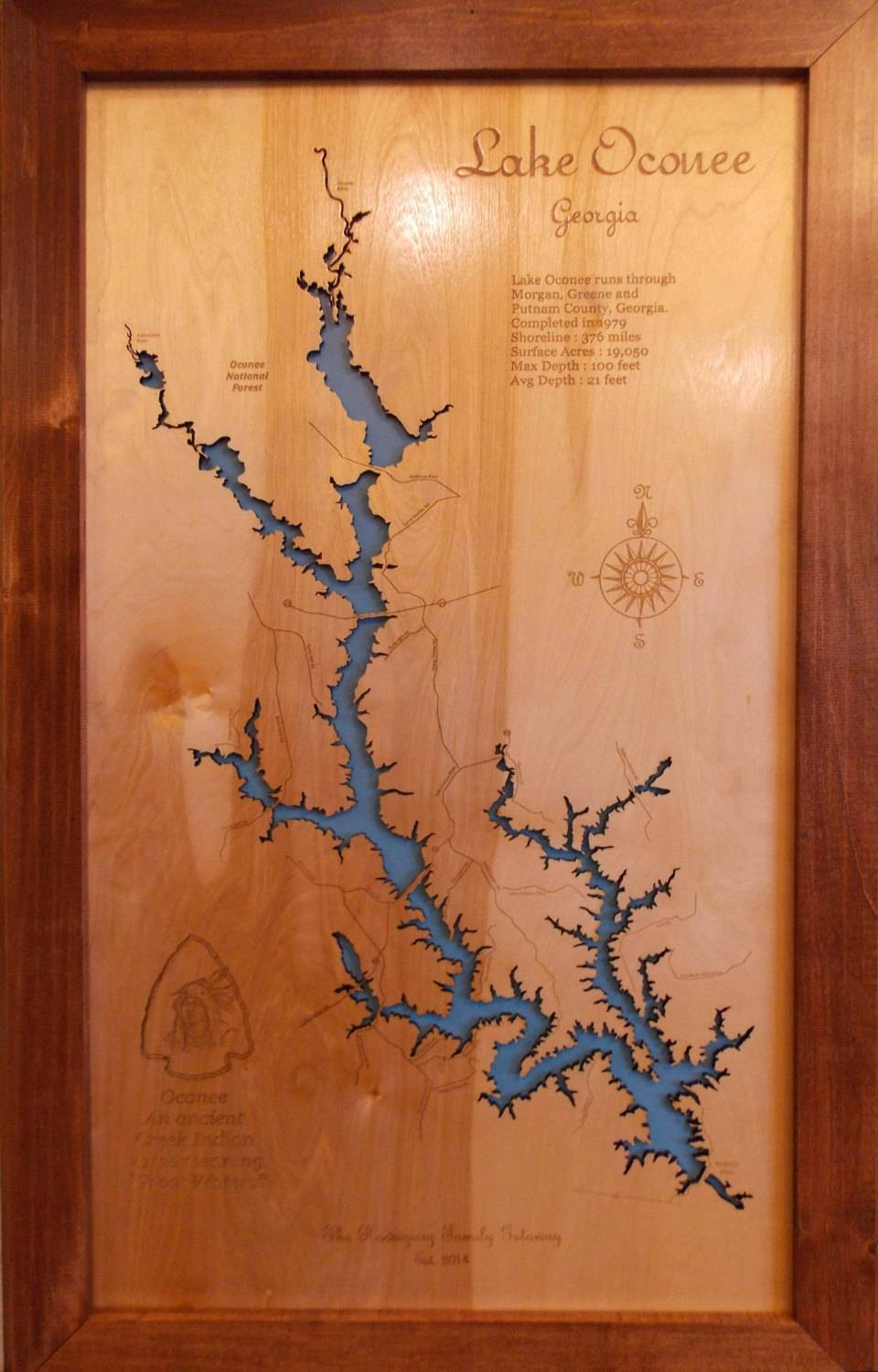 Wood Laser Cut Map Of Lake Oconee Ga Topographical Engraved With Regard To Newest Lake Map Wall Art (View 20 of 20)