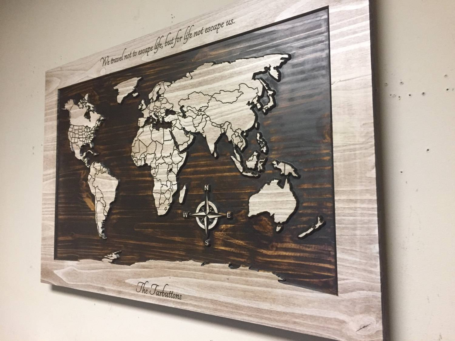 Wood Wall Art World Map Wall Art Carved Wooden World Map For Current Custom Map Wall Art (View 4 of 20)