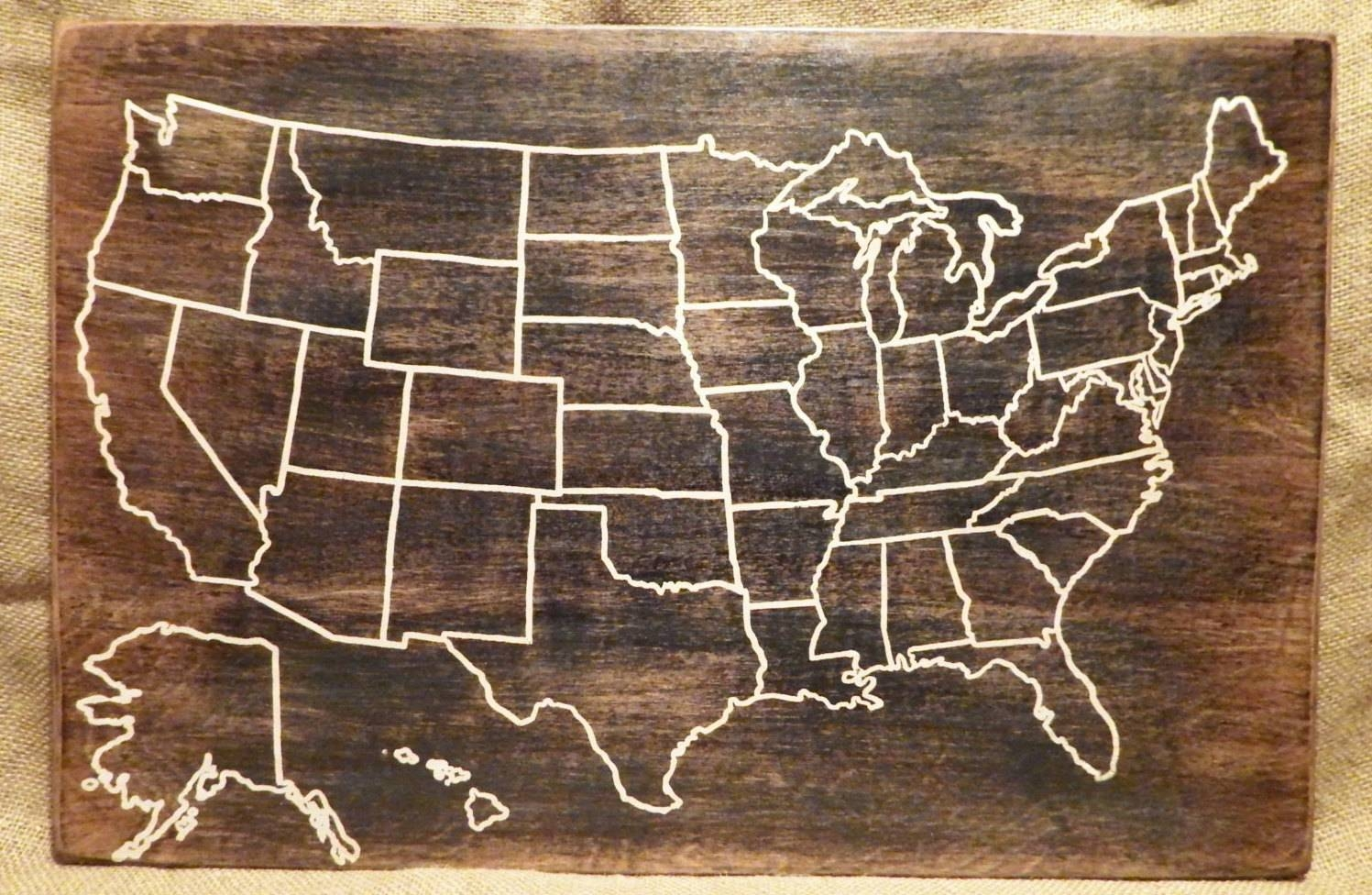Wooden Usa Map Wall Art Delightful Ideas United States Wall Art Throughout 2018 State Map Wall Art (View 13 of 20)