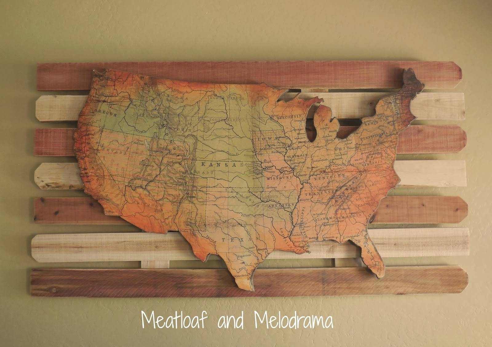 Wooden Usa Map Wall Art Us Map Wall Art License Plate Usa Map Wall In Recent String Map Wall Art (View 18 of 20)