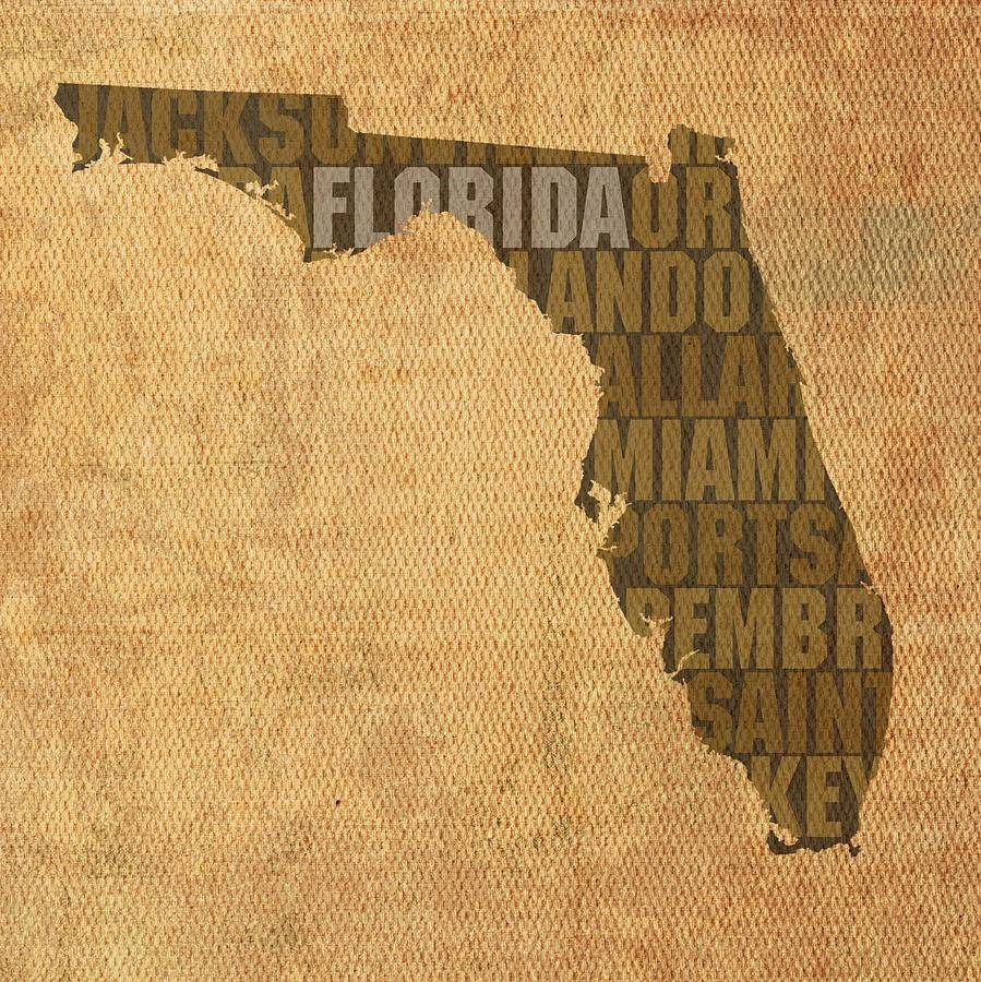 Word Art State Map On Canvas Mixed Mediadesign Turnpike With Regard To 2018 Florida Map Wall Art (View 15 of 20)