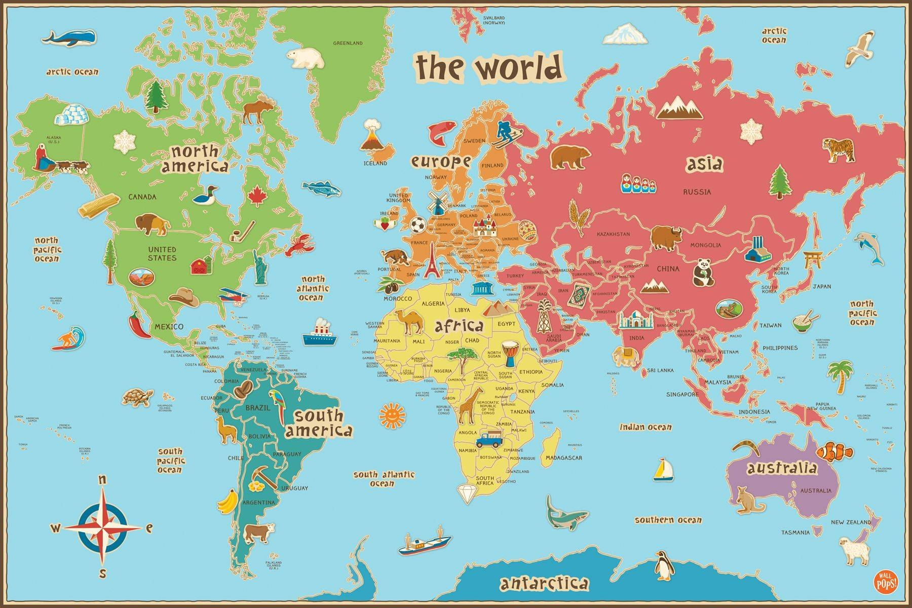 World Dry Erase Map Art Sticker With Pen Regarding Current World Map Wall Art For Kids (View 17 of 20)