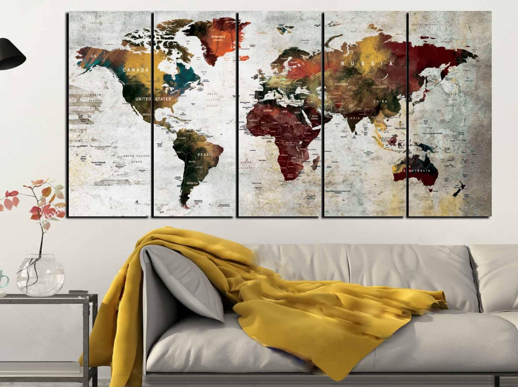 World Map Art,world Map Canvas,large World Map,world Map Wall Art For Newest Abstract Map Wall Art (View 8 of 20)
