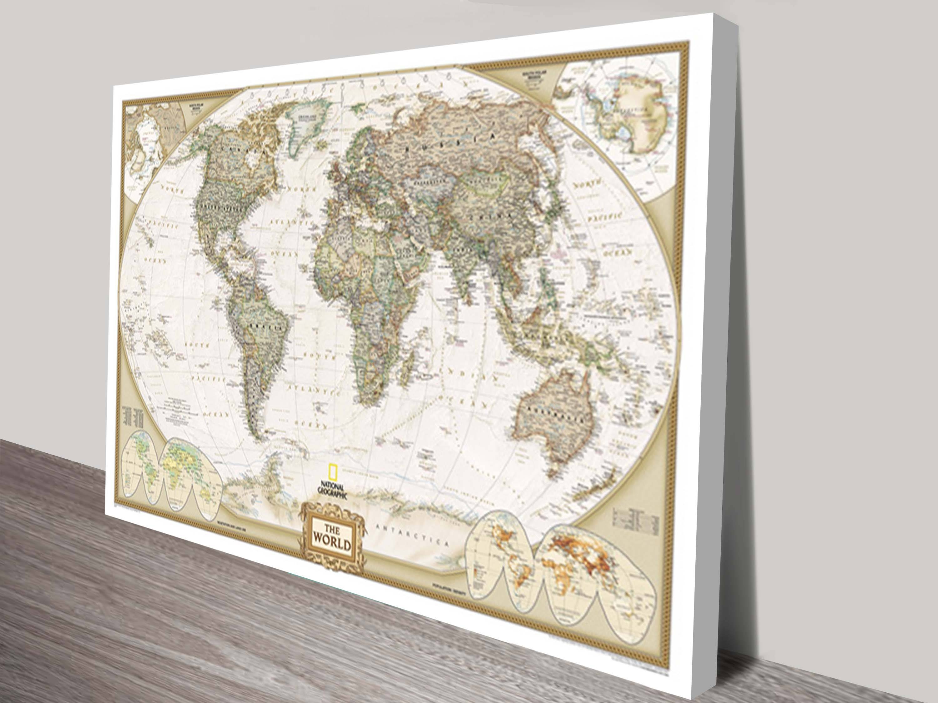 World Map Canvas Wall Art | Framed Maps Sydney With Regard To Most Recently Released Vintage World Map Wall Art (View 9 of 20)