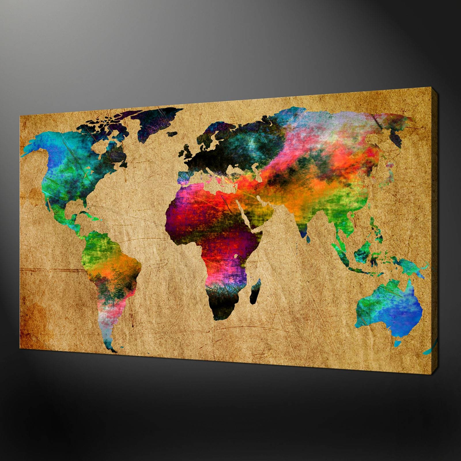 World Map Canvas Wall Art Picture Print With Latest World Map Wall Art Canvas (View 10 of 20)