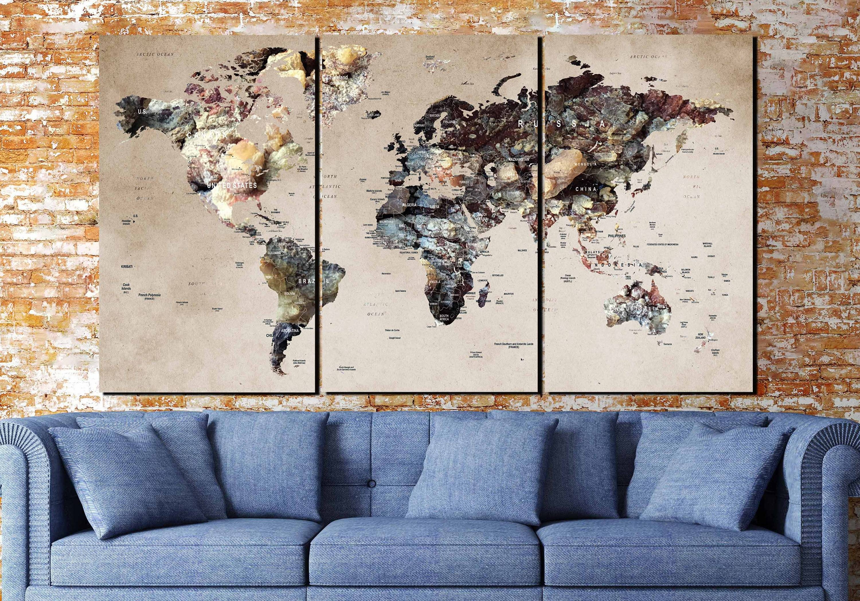 World Map Canvas,large World Map,world Map Art,world Map 3 Panels Intended For 2017 Abstract Map Wall Art (View 10 of 20)