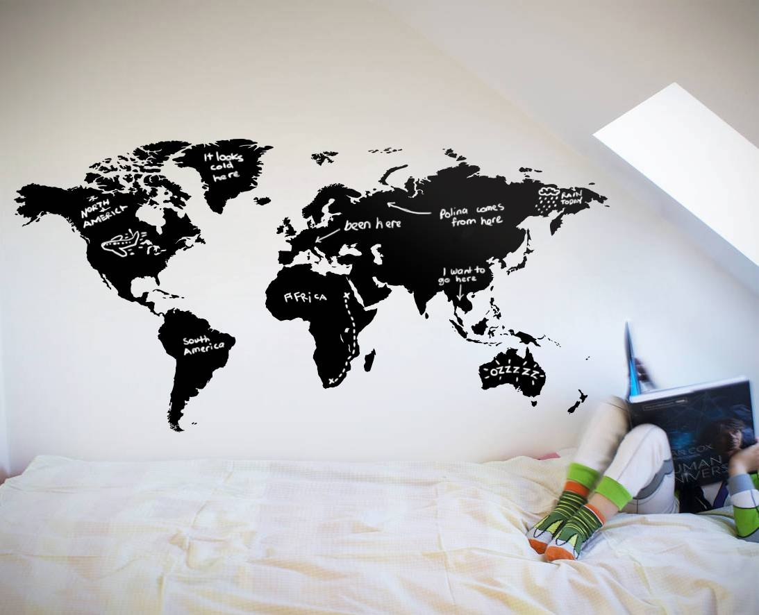 World Map Chalkboard – Your Decal Shop | Nz Designer Wall Art Within 2018 New Zealand Map Wall Art (View 2 of 20)