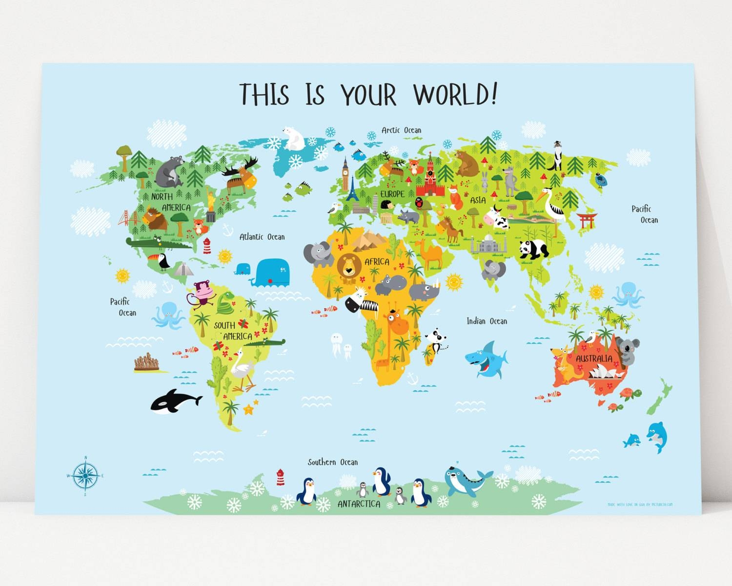 World Map For Kids Instant Download Nursery Decor High Pertaining To Newest World Map Wall Art For Kids (View 18 of 20)