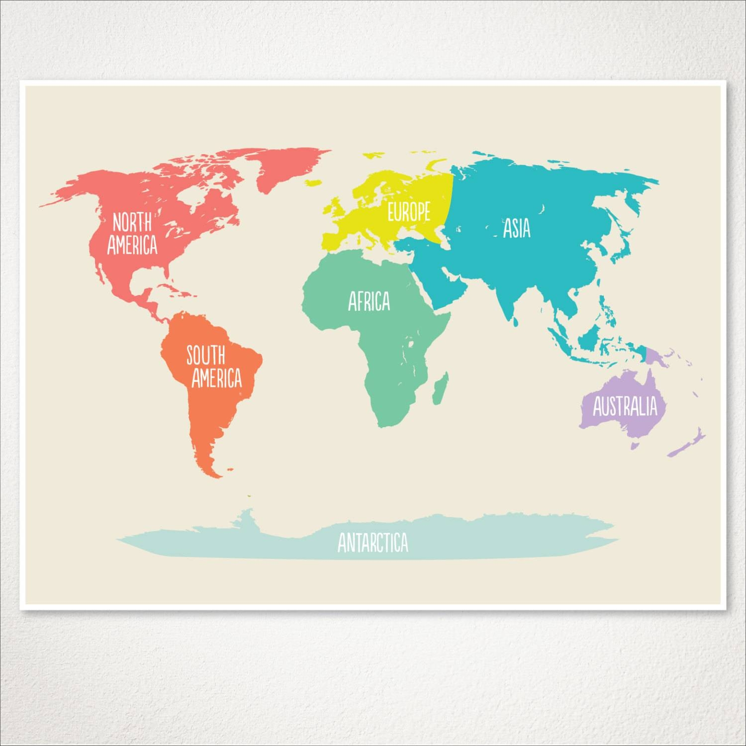 World Map Kids Nursery Room Decor Baby Nursery Art Playroom Throughout Most Up To Date Kids World Map Wall Art (View 17 of 20)