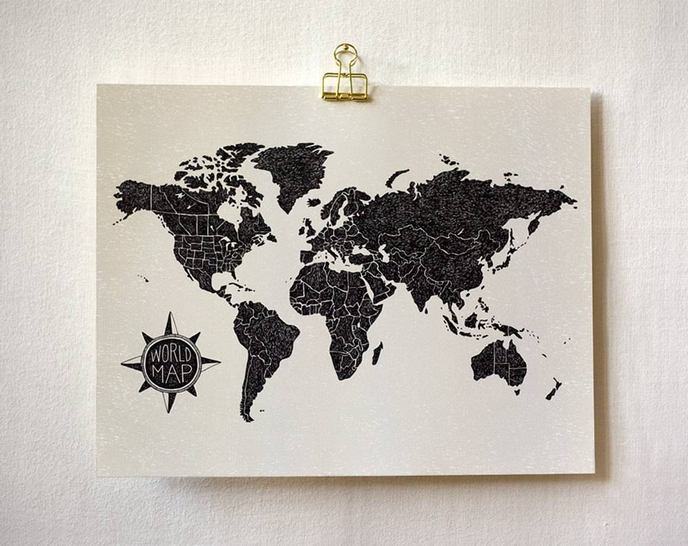 World Map (light) Art Print | Wit & Whistle With Regard To Recent World Map Wall Art Print (View 4 of 20)