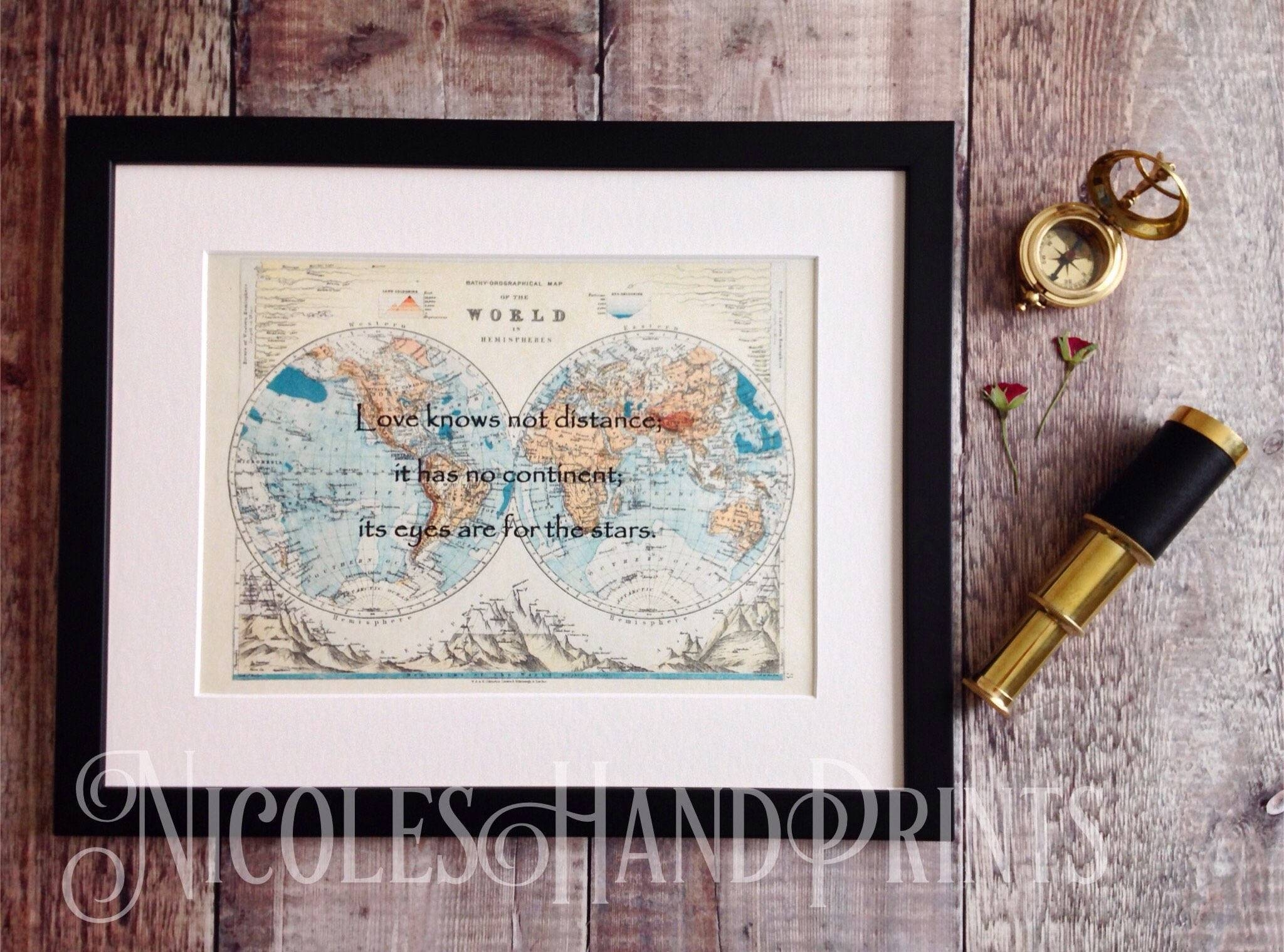 World Map, Love Print, Custom Map Print, Love Quote, Old Map, Wall Regarding Most Recently Released Custom Map Wall Art (View 19 of 20)