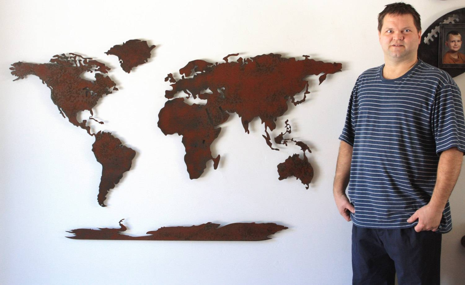 World Map Metal Wall Art 60 Wide X 36 Tall 5 For Most Recently Released Rusted Metal Wall Art (View 20 of 20)