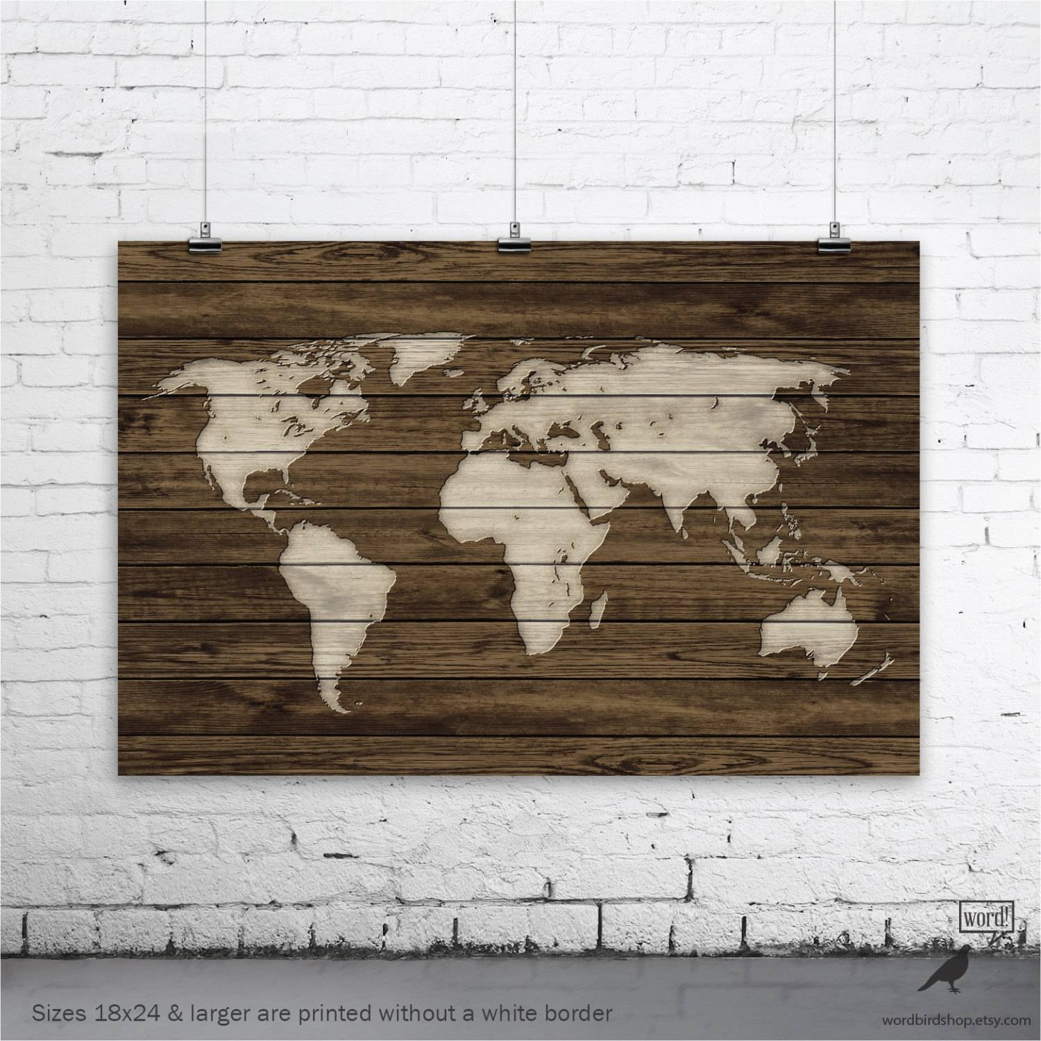 World Map Poster Rustic Map Poster Rustic Decor Rustic Wall For 2017 Map Wall Art Prints (View 10 of 20)