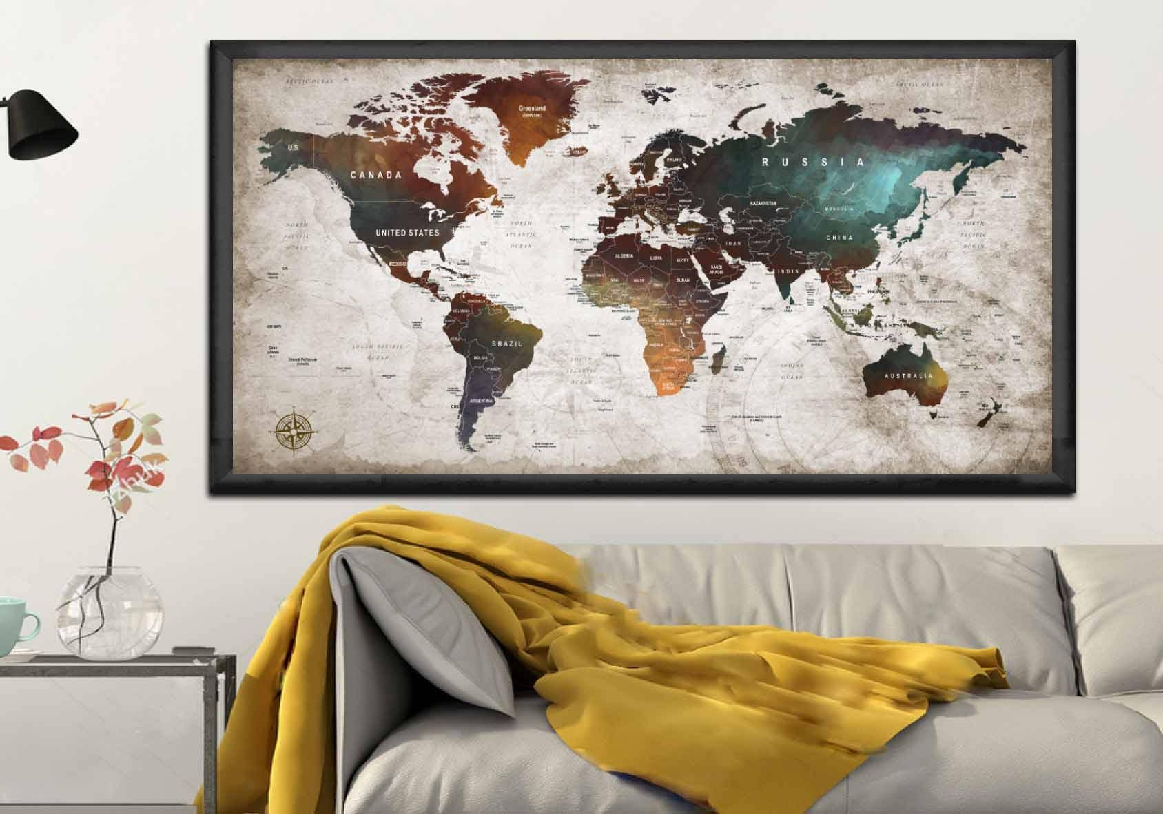World Map Poster,world Map Decal,world Map Canvas Panel,world Map Within Most Recent Map Wall Art Canada (View 18 of 20)