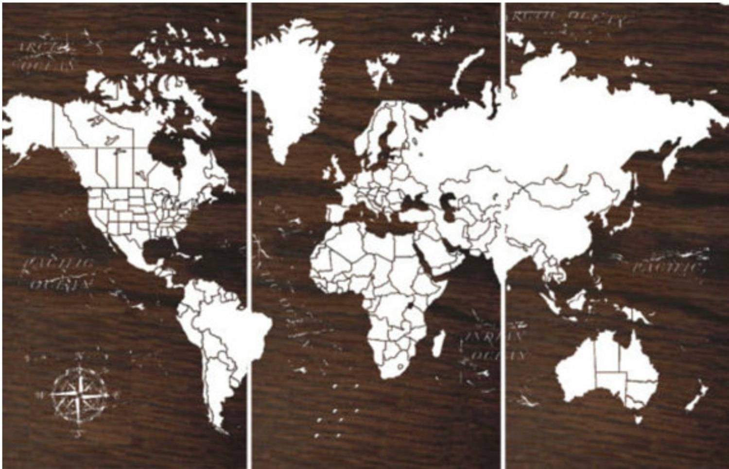 World Map Push Pin Travel Map Wall Art World Map With Most Recently Released Personalized Map Wall Art (View 17 of 20)