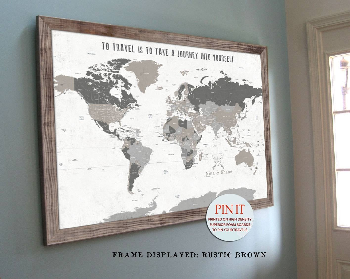 World Map Push Pin World Map World Map Wall Art Rustic Wall With Best And Newest Framed Map Wall Art (View 19 of 20)