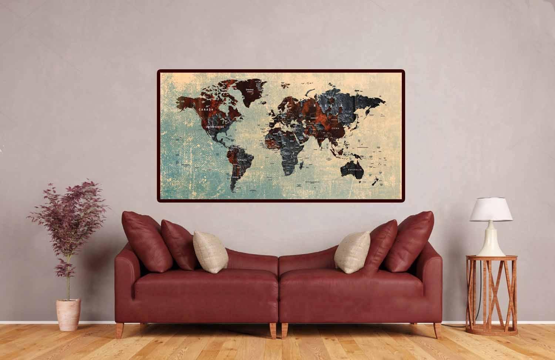 World Map Pushpin,large World Map,travel Map,world Map Art,world With 2018 Abstract Map Wall Art (View 10 of 20)