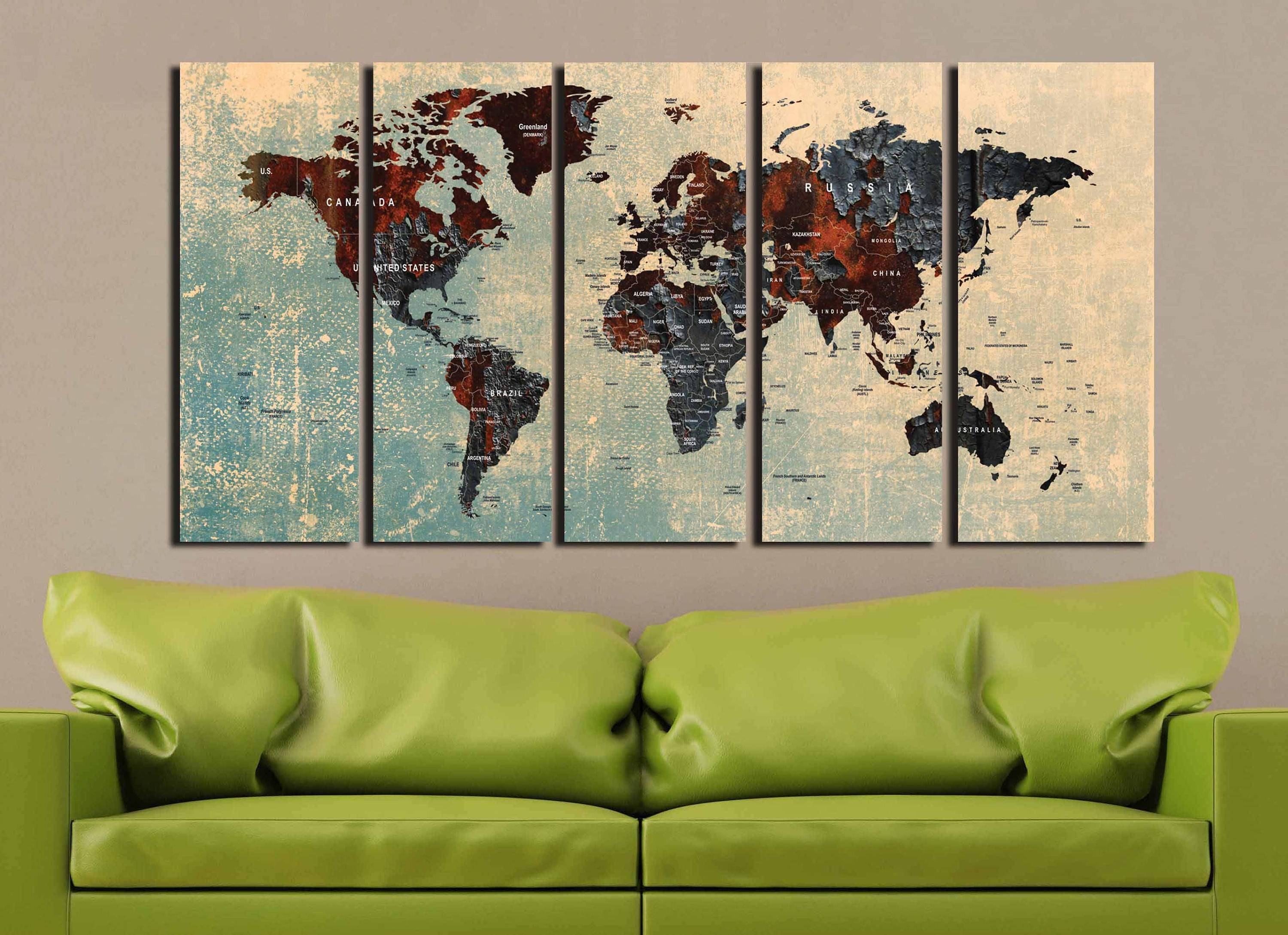 World Map Pushpin,large World Map,travel Map,world Map Art,world With Regard To Best And Newest Abstract Map Wall Art (View 4 of 20)