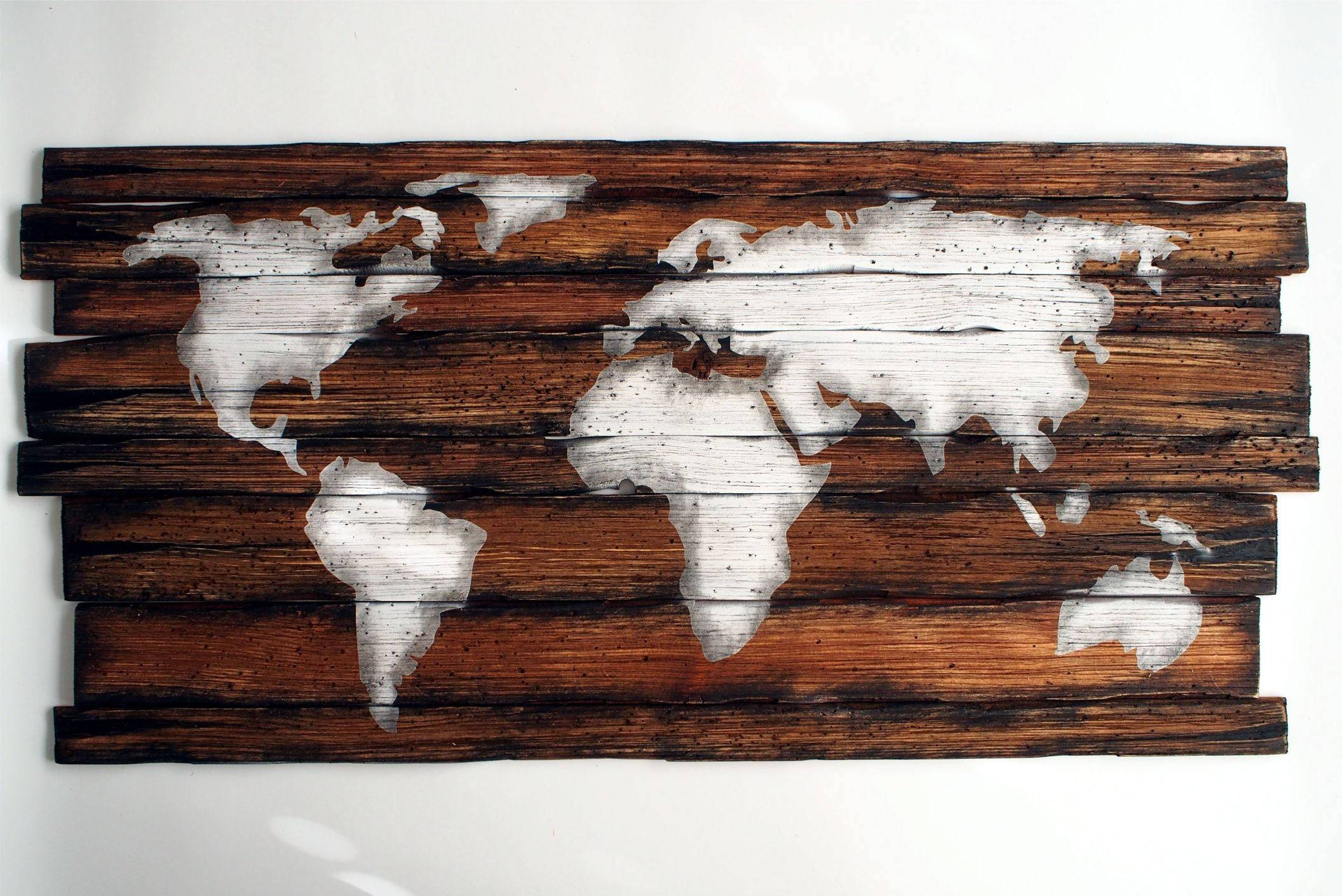 World Map | Rustic Decor | Handmade Worn Out Wood Sign | Wall Art For Most Recent Wood Map Wall Art (View 19 of 20)