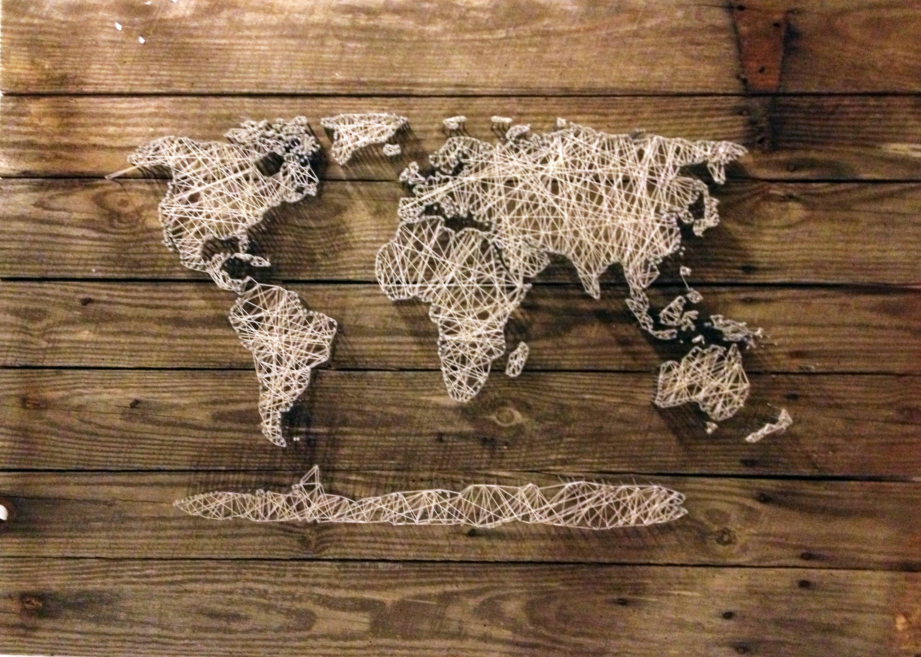 World Map, String Art | Existence Reclaimed Regarding Most Up To Date String Map Wall Art (View 7 of 20)