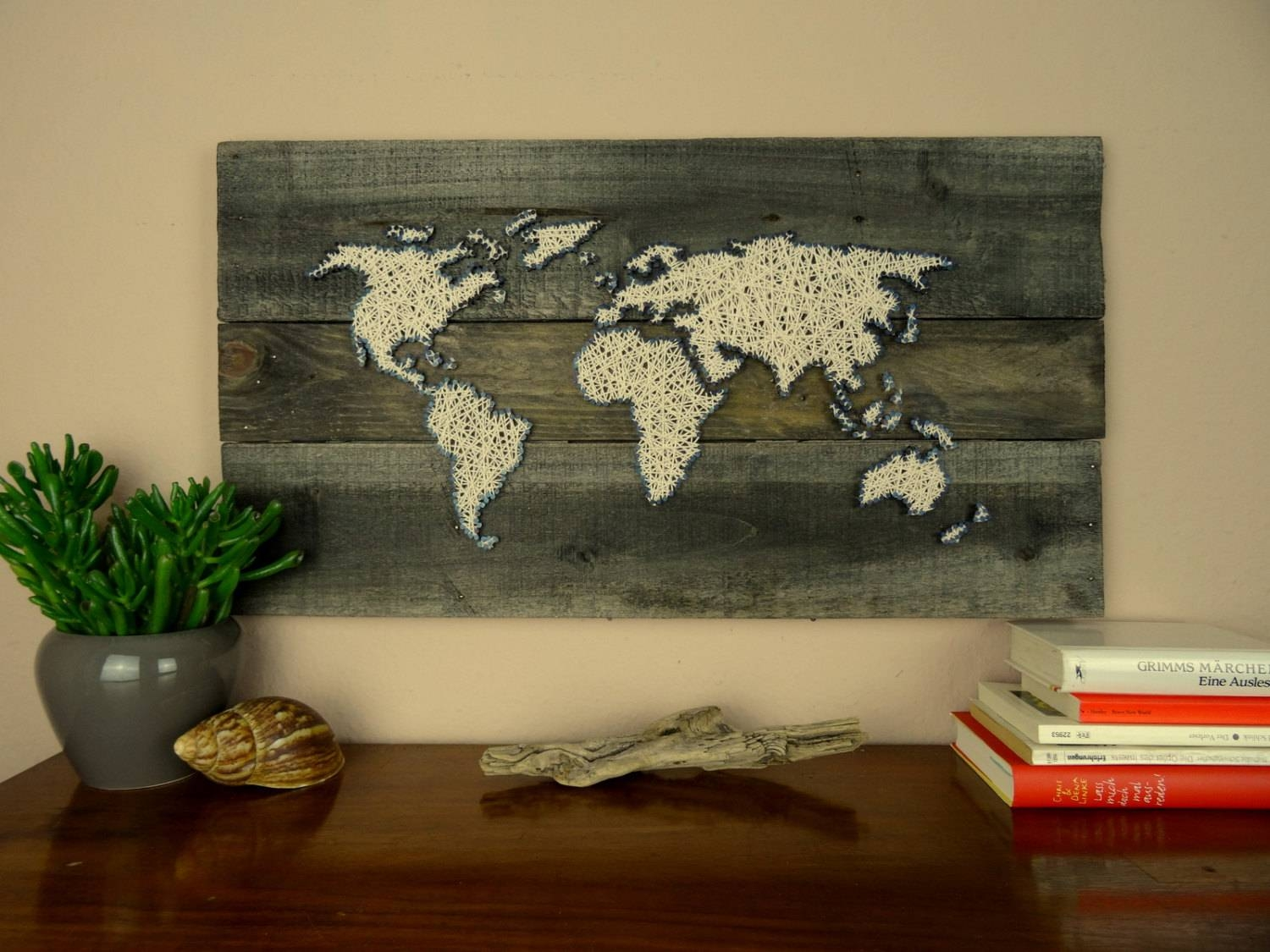 World Map String Art Gift For Couple Reclaimed Wood Intended For Current String Map Wall Art (View 4 of 20)