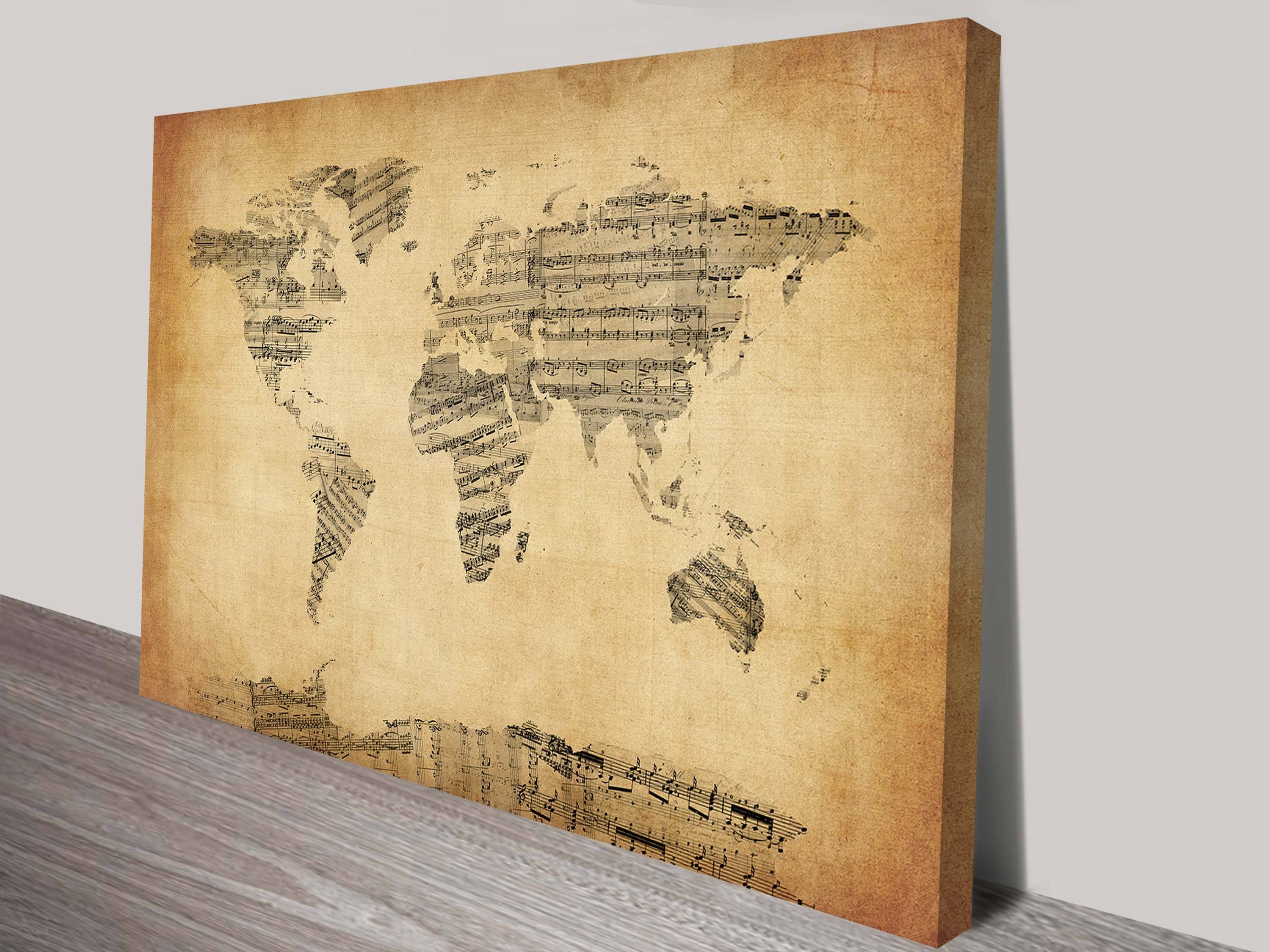World Map Vintage Sheet Music Artmichael Tompsett With Regard To Latest Vintage World Map Wall Art (View 16 of 20)