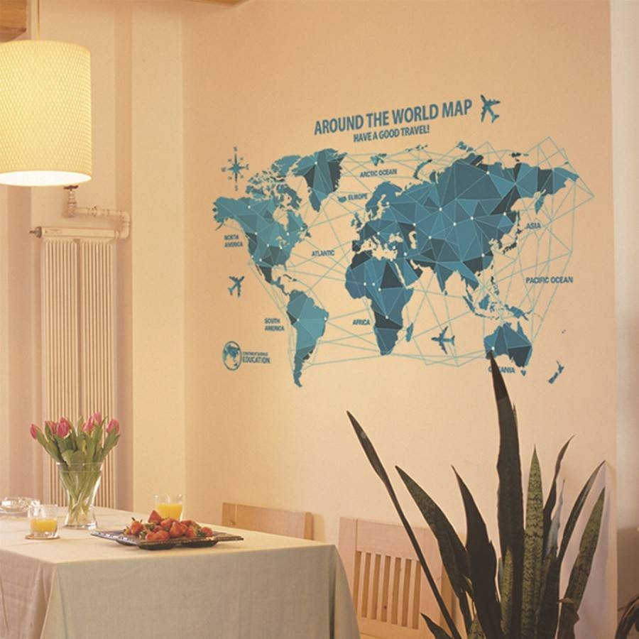 World Map Wall Art Decal — Rs Floral Design : Diy Mural World Map For Most Current Worldmap Wall Art (View 14 of 20)