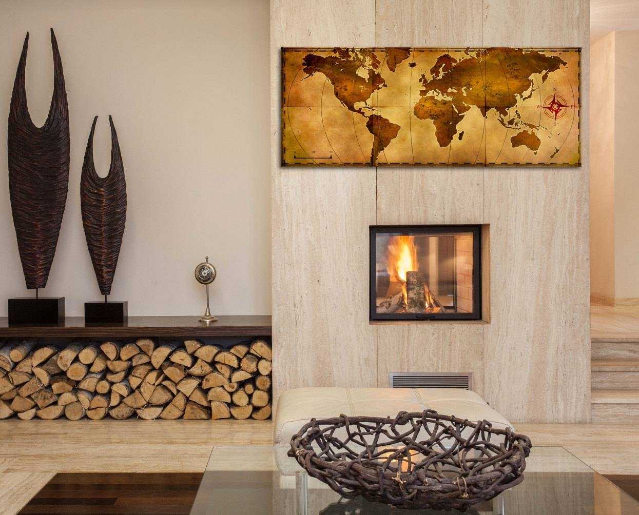 World Map Wall Art 'old World Map' Aged Antique Style Inside 2018 Treasure Map Wall Art (View 5 of 20)