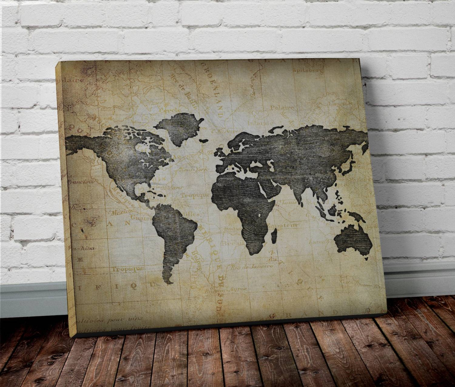 World Map Wall Art Regarding Newest Canvas Map Wall Art (View 17 of 20)