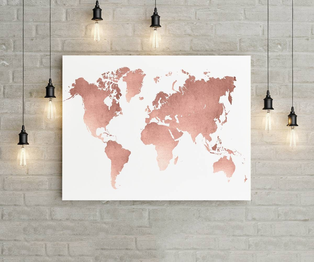 World Map Wall Art Rose Gold Print World Map Poster Rose In Newest Travel Map Wall Art (View 17 of 20)