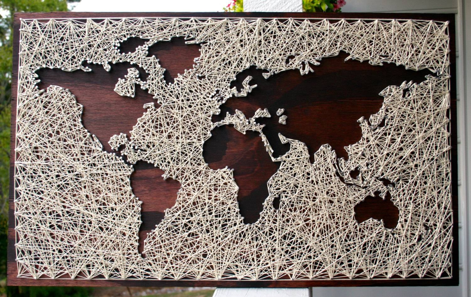 World Map Wall Art String Art Map World Map Art Map Wood In Recent World Map Wall Artwork (View 20 of 20)