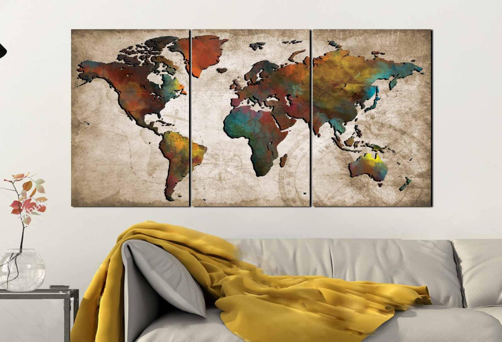 World Map Wall Art,abstract Push Pin Map,colorful World Map,world Pertaining To Recent Travel Map Wall Art (View 14 of 20)