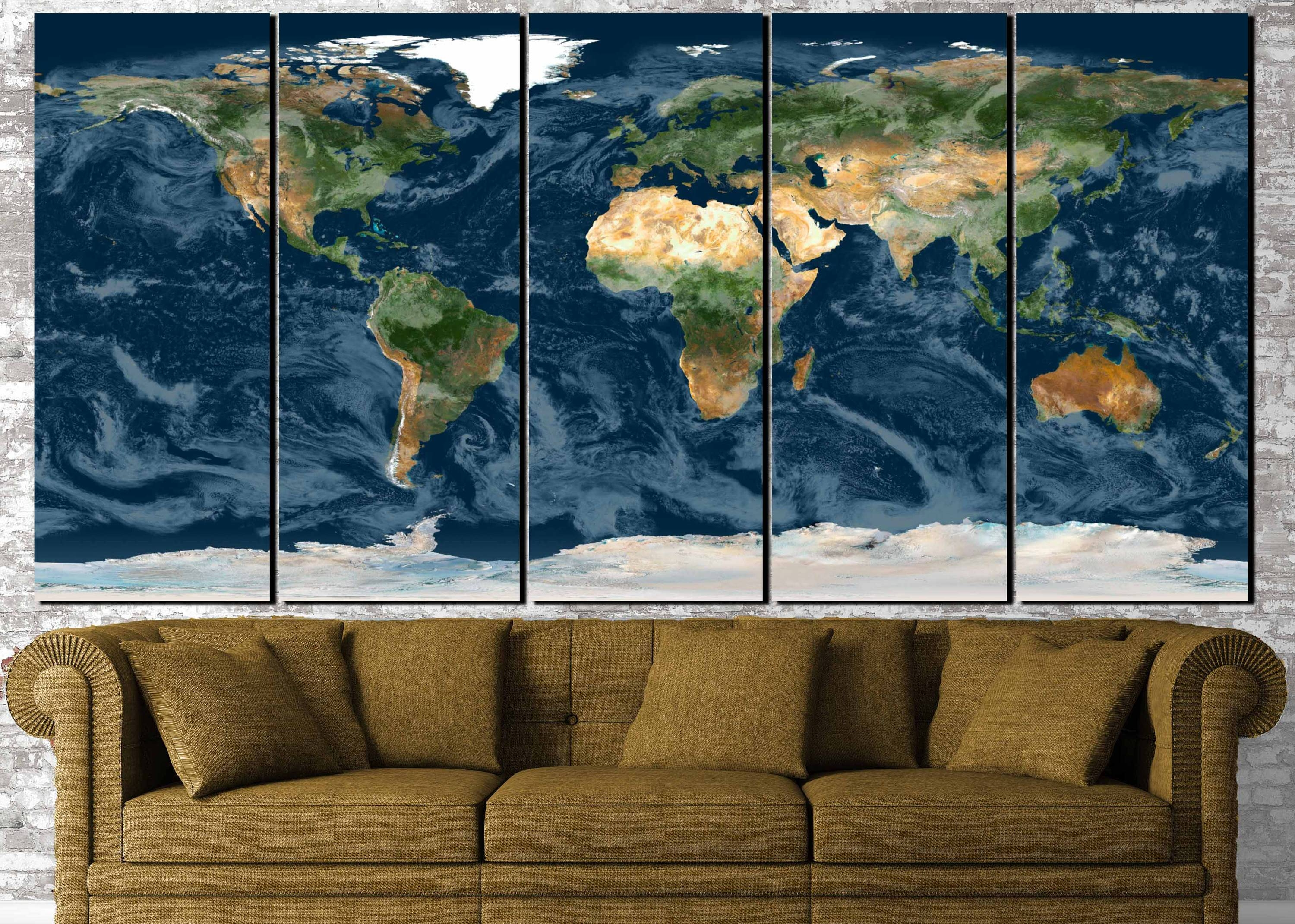 World Map Wall Art,topographical World Map,topographical Map,large With Regard To Most Current Large Map Wall Art (View 10 of 20)