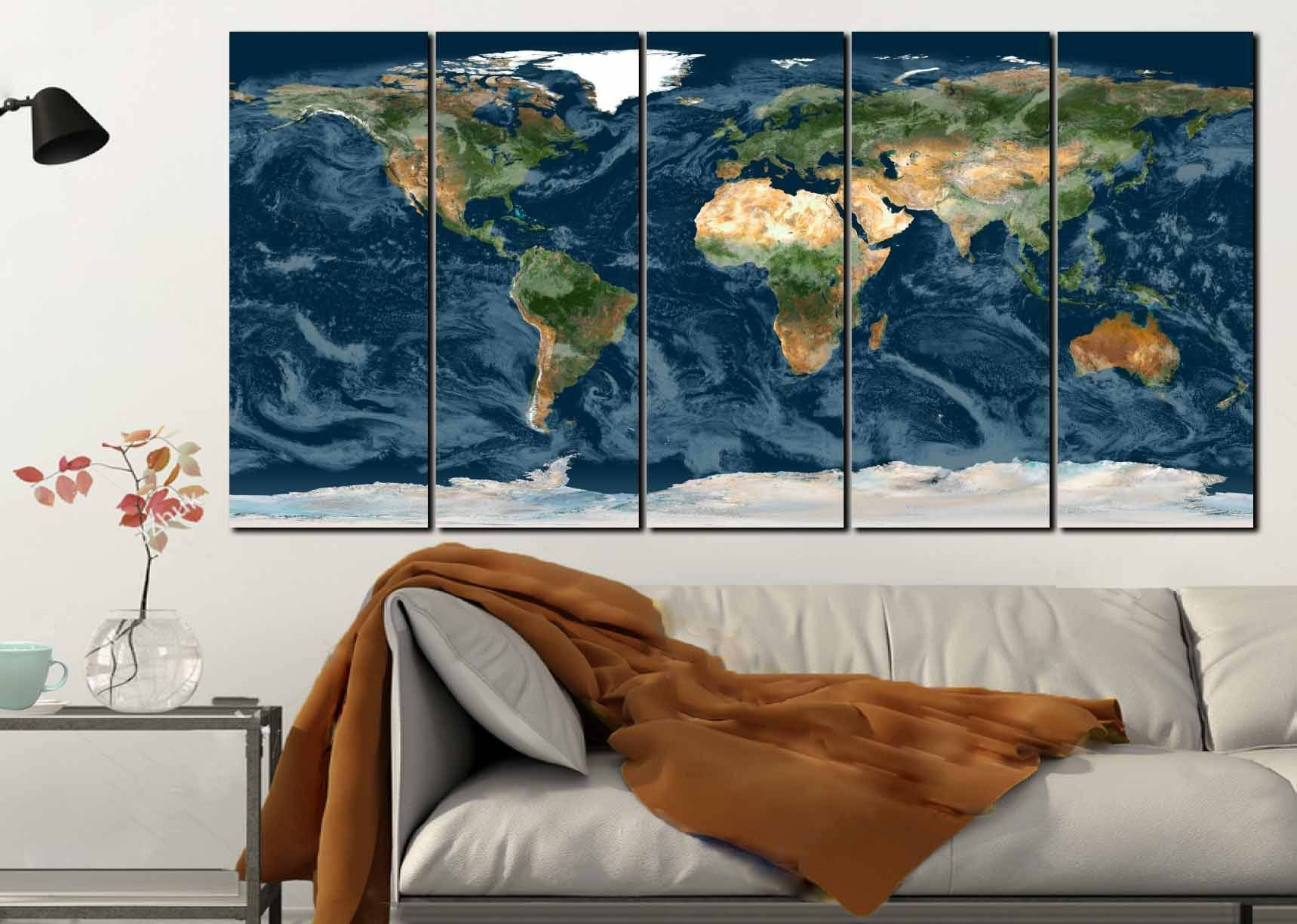 World Map Wall Art,topographical World Map,topographical Map,large Within Newest Large Map Wall Art (View 5 of 20)