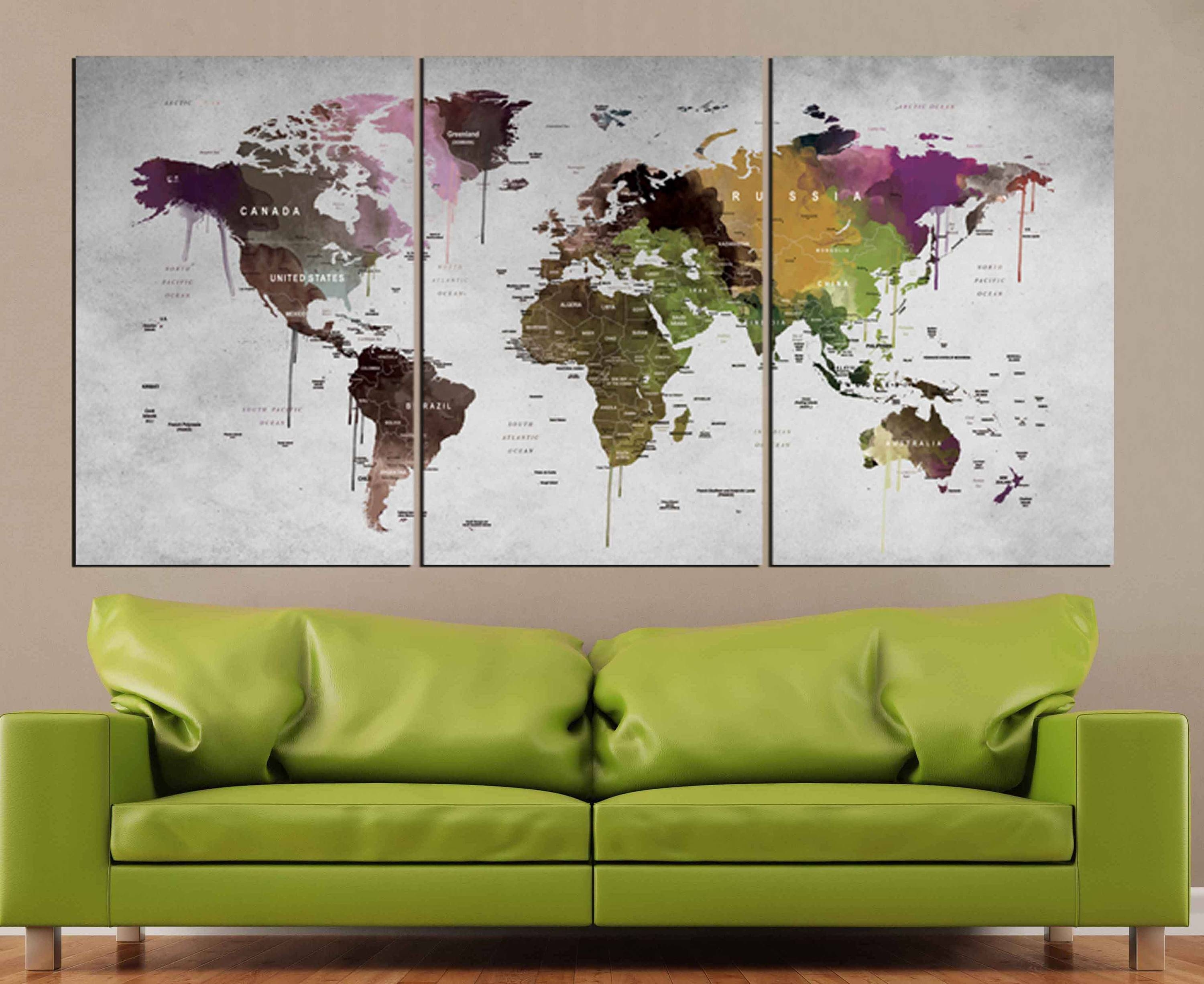 World Map Wall Art,world Map Canvas Print,abstract Watercolor Map Regarding Newest Abstract Map Wall Art (View 5 of 20)