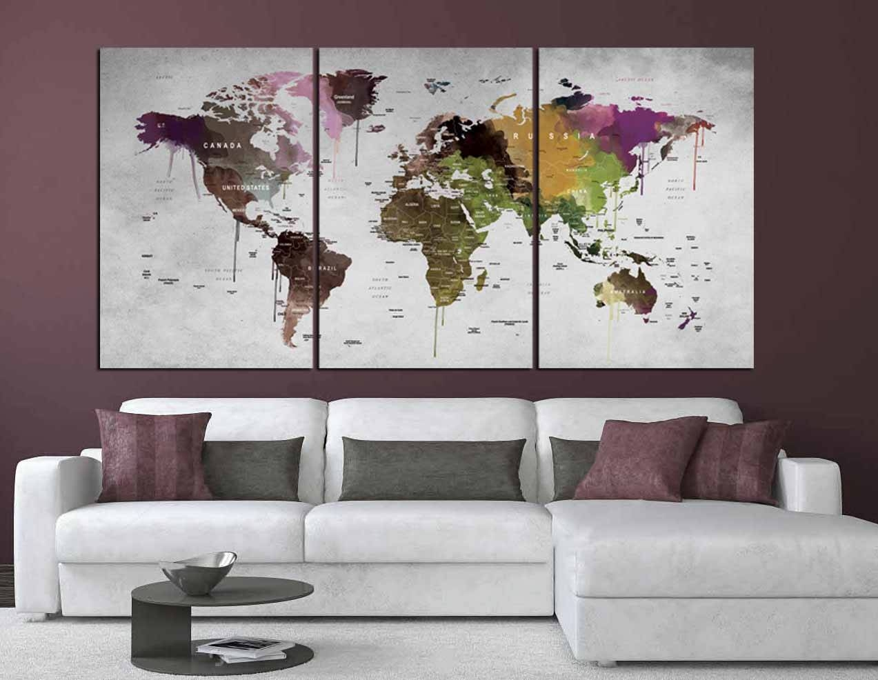 World Map Wall Art,world Map Canvas Print,abstract Watercolor Map With Most Popular Abstract Map Wall Art (View 14 of 20)