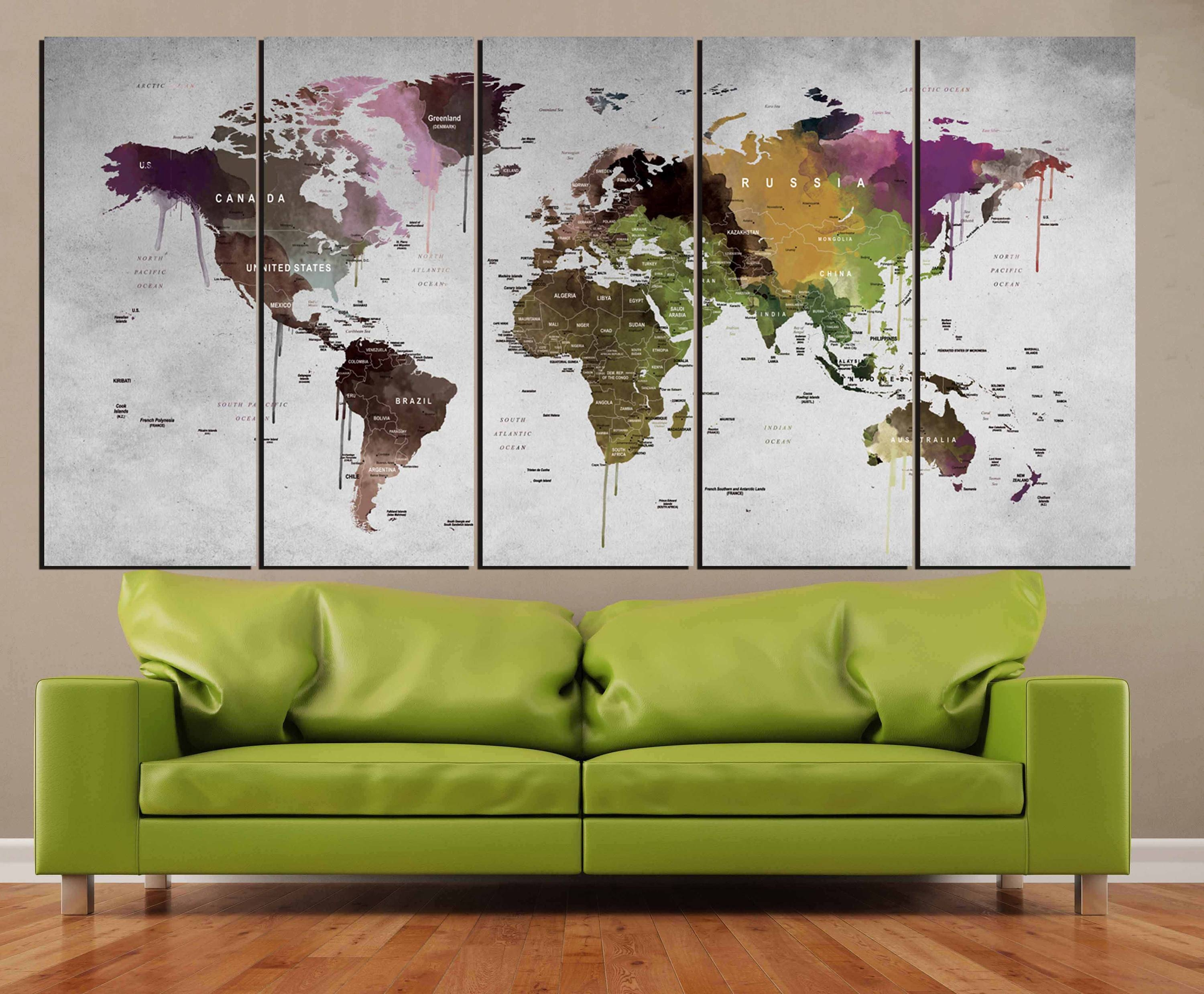 World Map Wall Art,world Map Canvas Print,abstract Watercolor Map With Regard To Most Up To Date Abstract Map Wall Art (View 14 of 20)