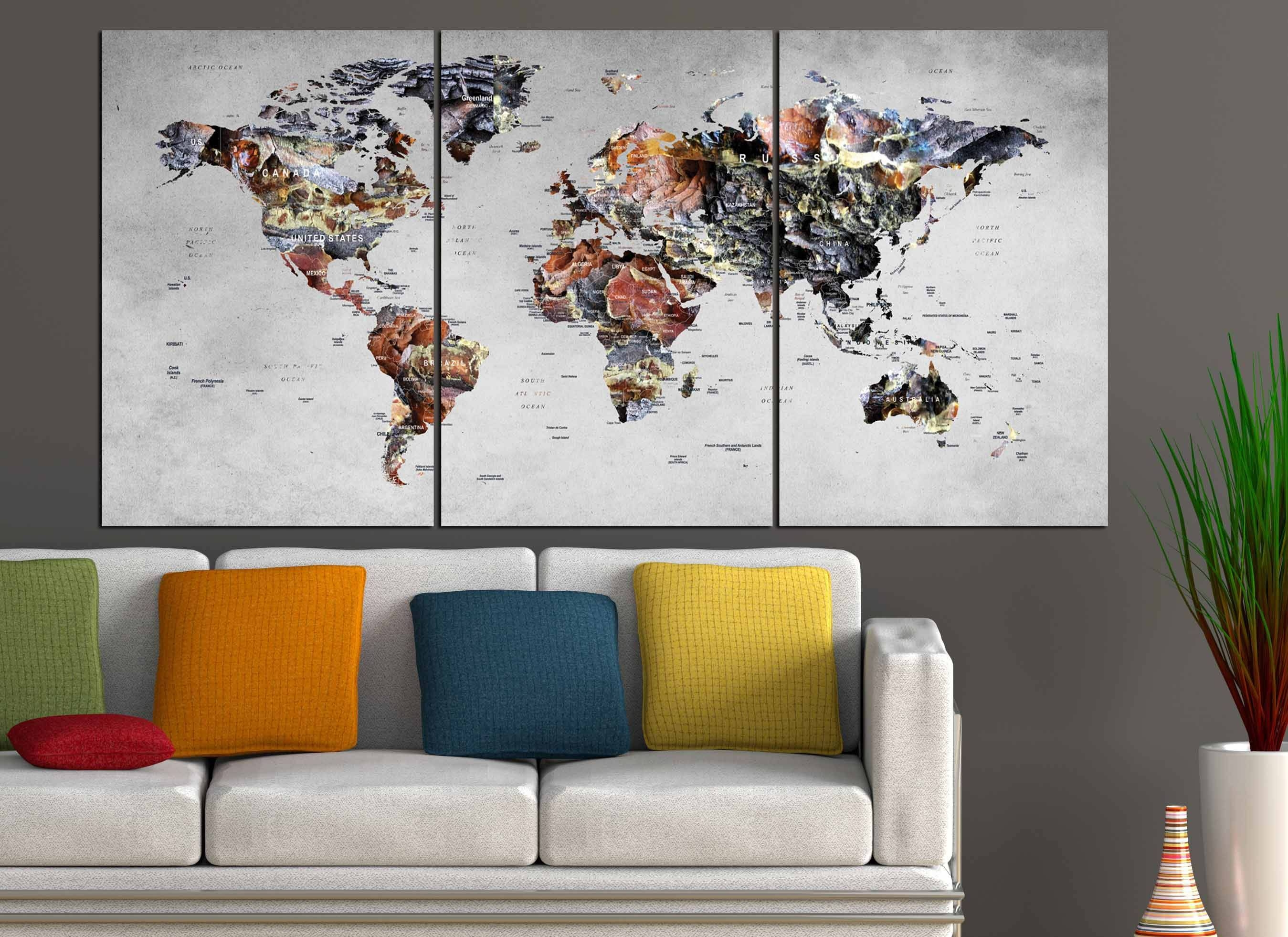 World Map Wall Art,world Map Canvas,large World Map,large Map For Latest Large Map Wall Art (View 18 of 20)