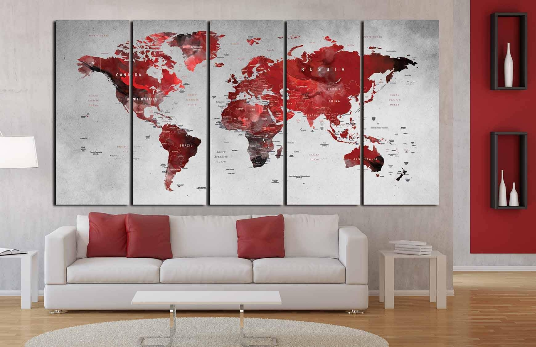 World Map Wall Art,world Map Canvas,world Map Art Print,large Inside Most Current Abstract Map Wall Art (View 16 of 20)