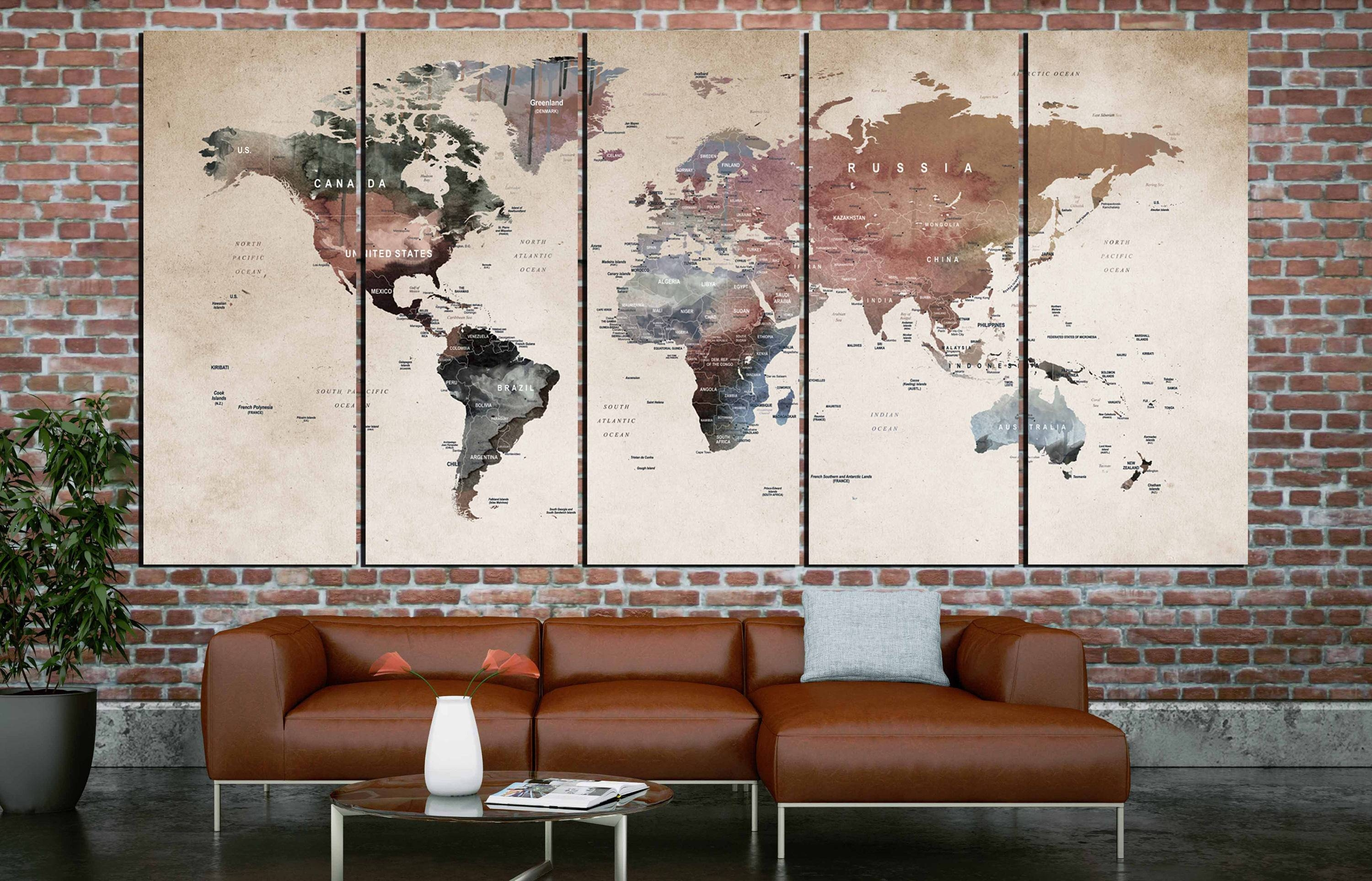 20 best ideas of vintage world map wall art world map wall artworld map canvasworld map printlarge world throughout gumiabroncs Gallery