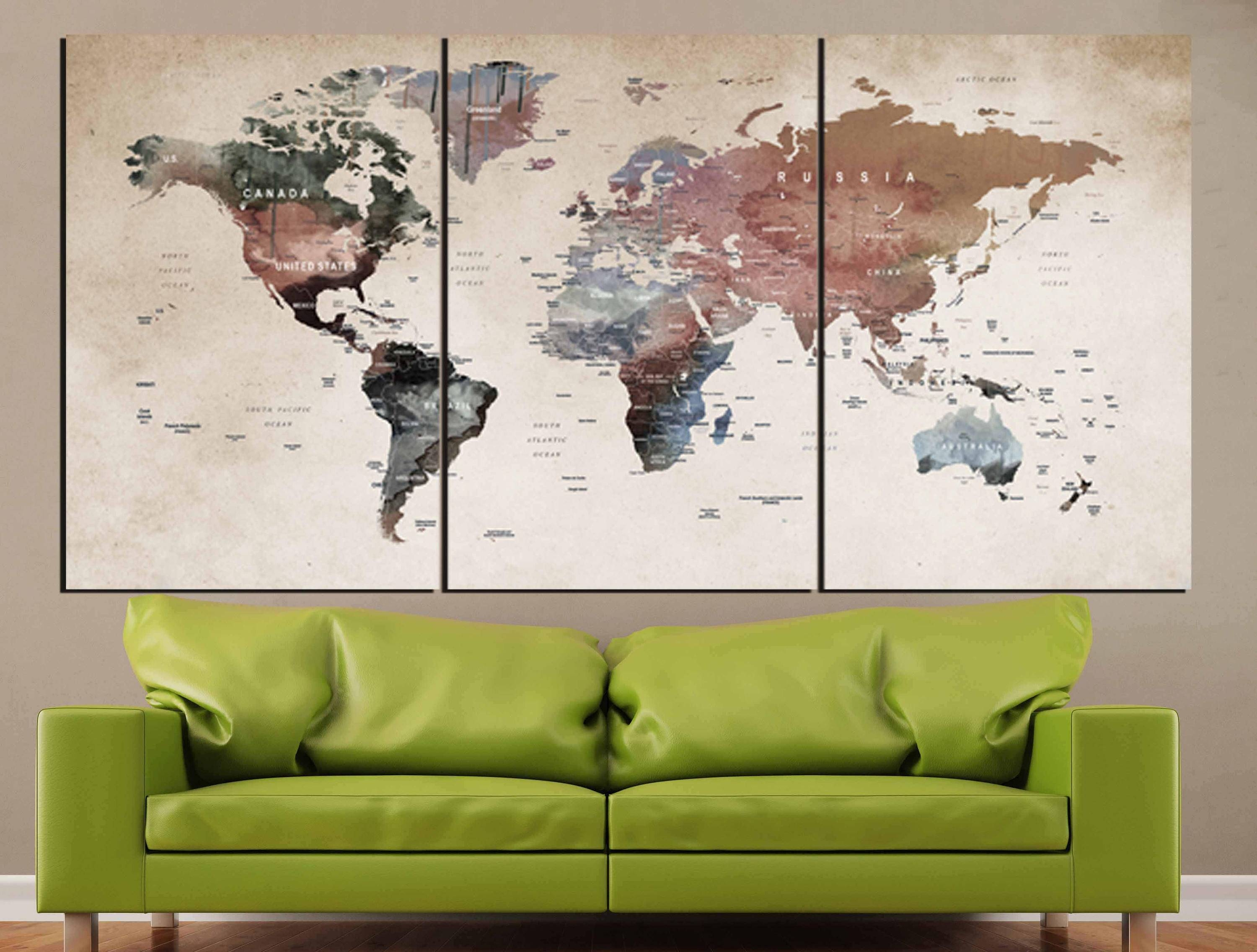 World Map Wall Art,world Map Canvas,world Map Print,large World With Most Recent Map Wall Art Canada (View 4 of 20)