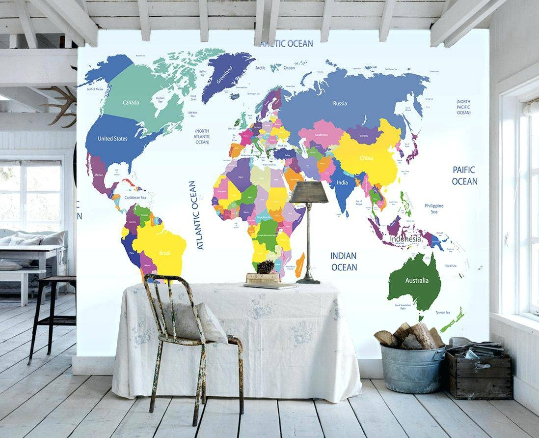 World Map Wall Decal Kids Creative Ideas World Map Wall Mural Bold Regarding Recent Kids World Map Wall Art (View 18 of 20)